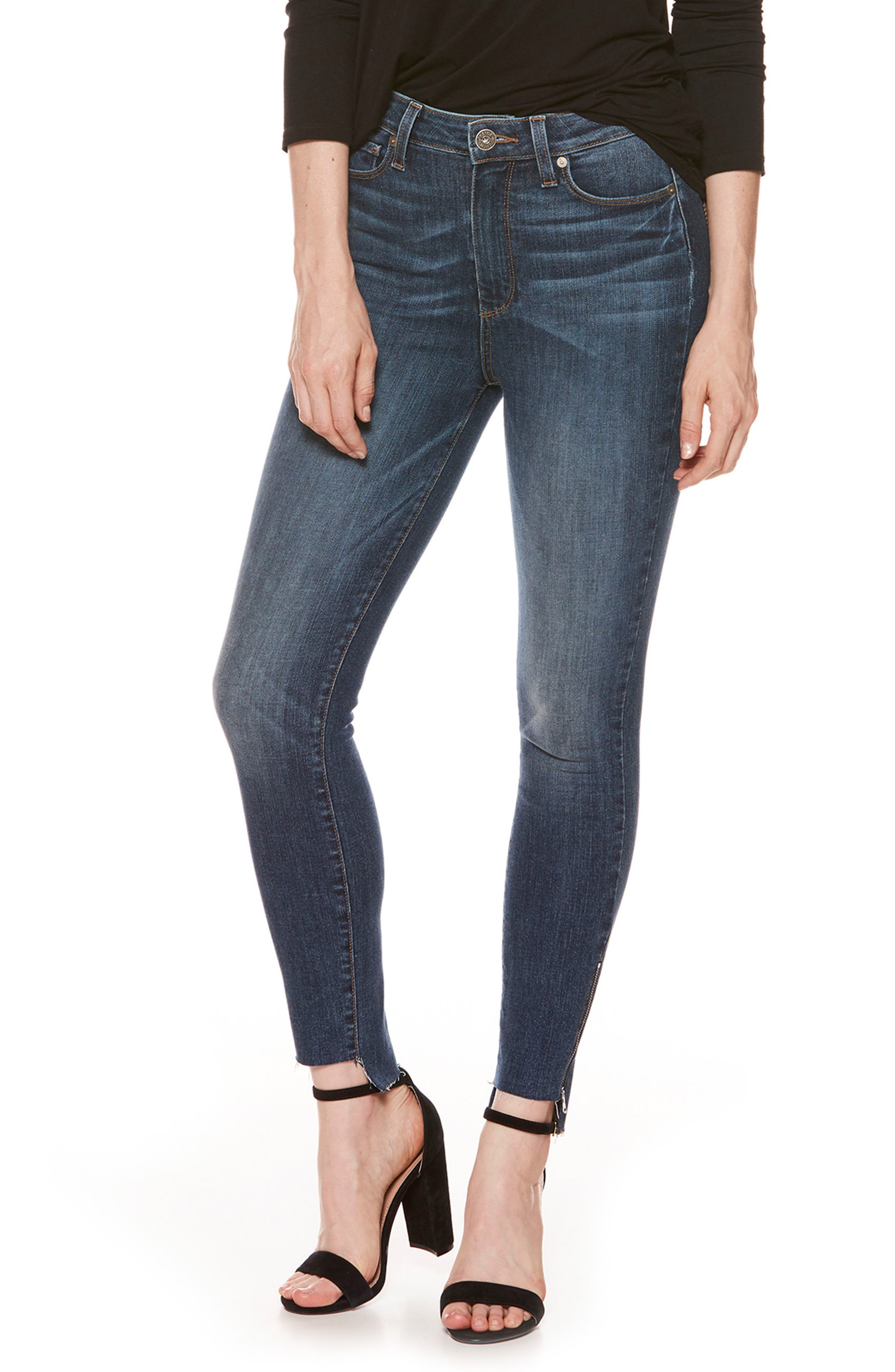 Margot High Waist Zip Skinny Jeans,                             Main thumbnail 1, color,