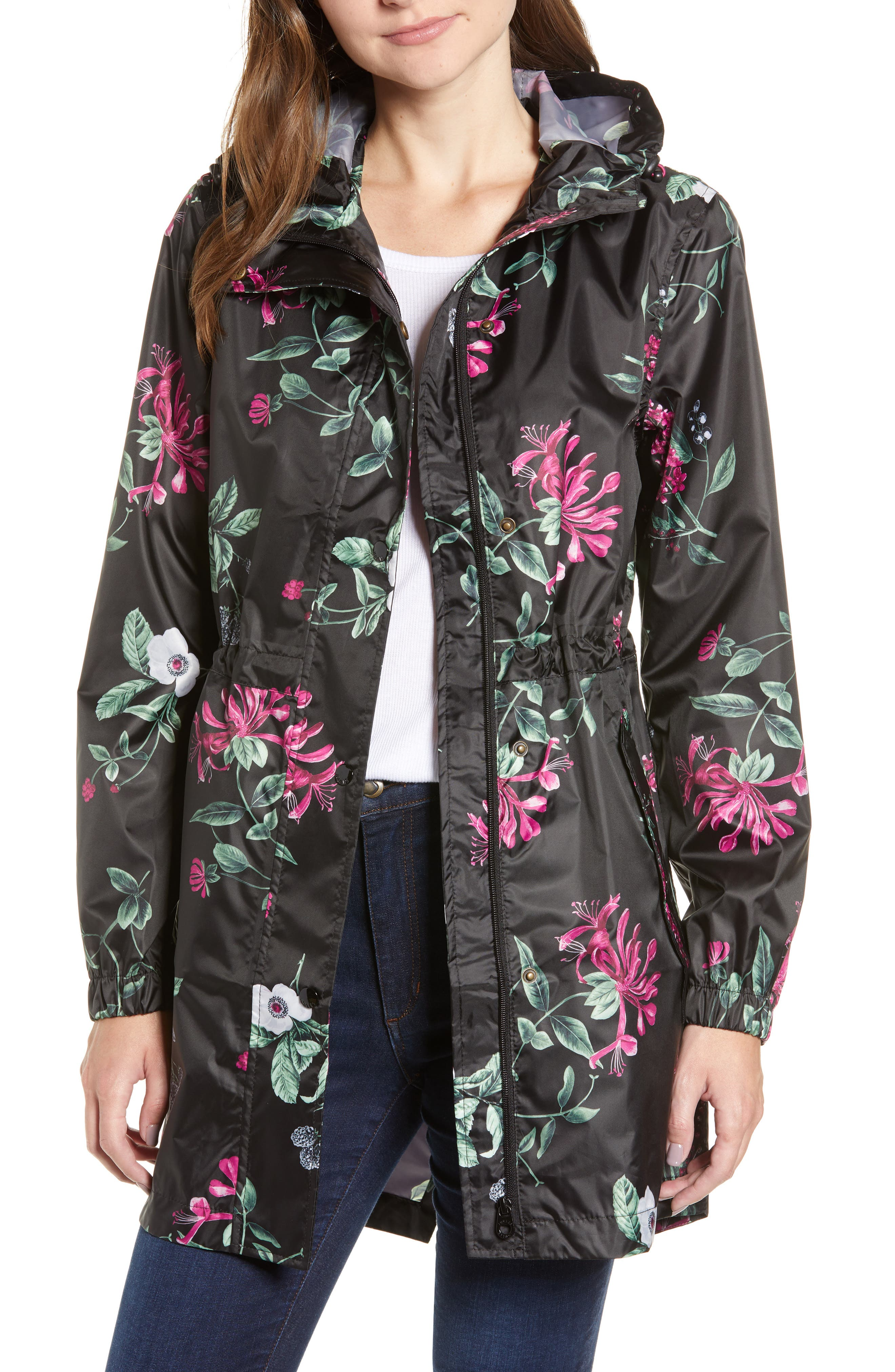 Right as Rain Packable Print Hooded Raincoat,                         Main,                         color, BLACK HEDGEROW