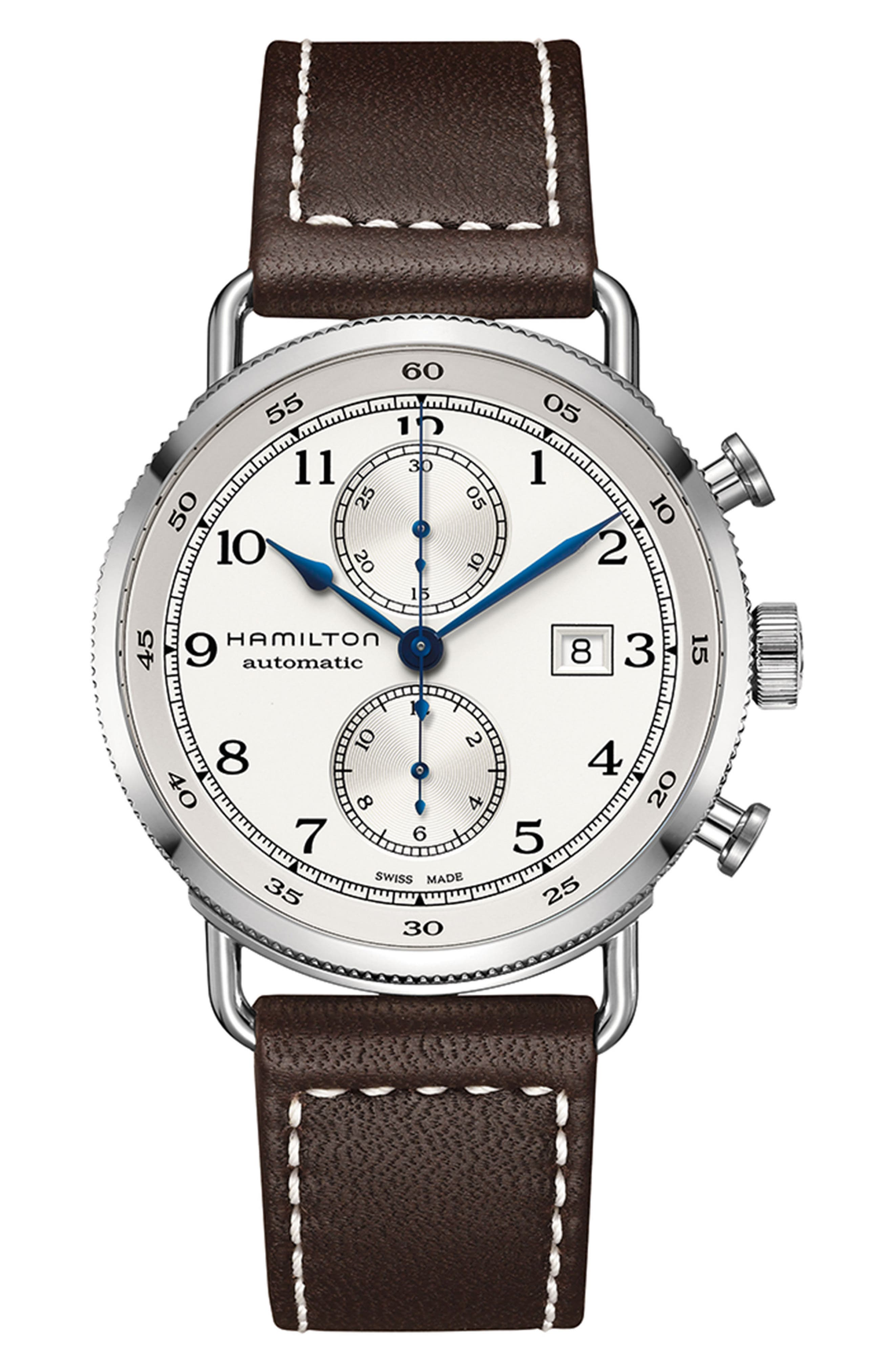 Khaki Navy Automatic Chronograph Leather Strap Watch, 44mm,                         Main,                         color, BROWN/ SILVER