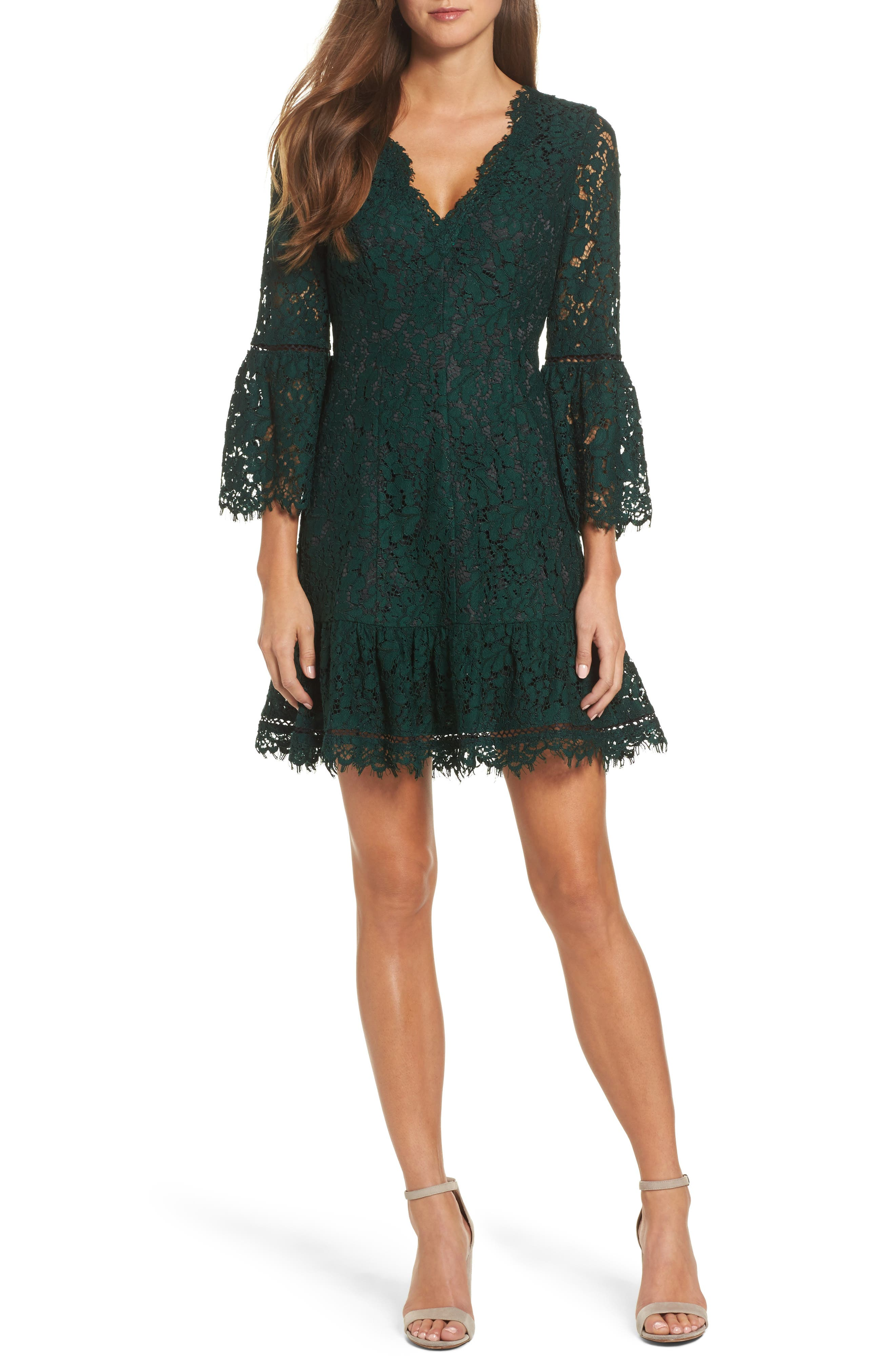 ELIZA J,                             Bell Sleeve Lace Cocktail Dress,                             Main thumbnail 1, color,                             GREEN/ BLACK