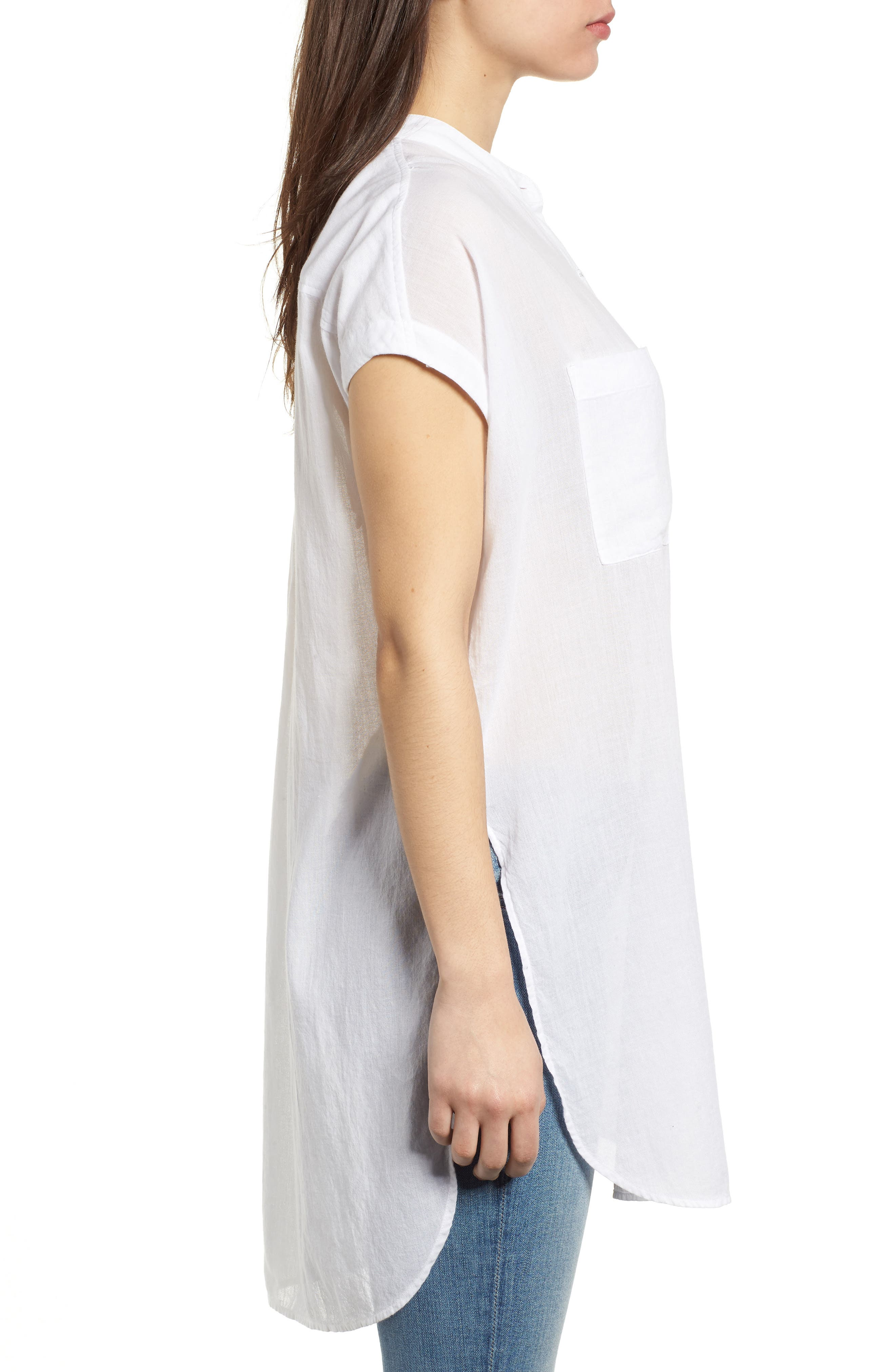 Button Front Longline Top,                             Alternate thumbnail 19, color,