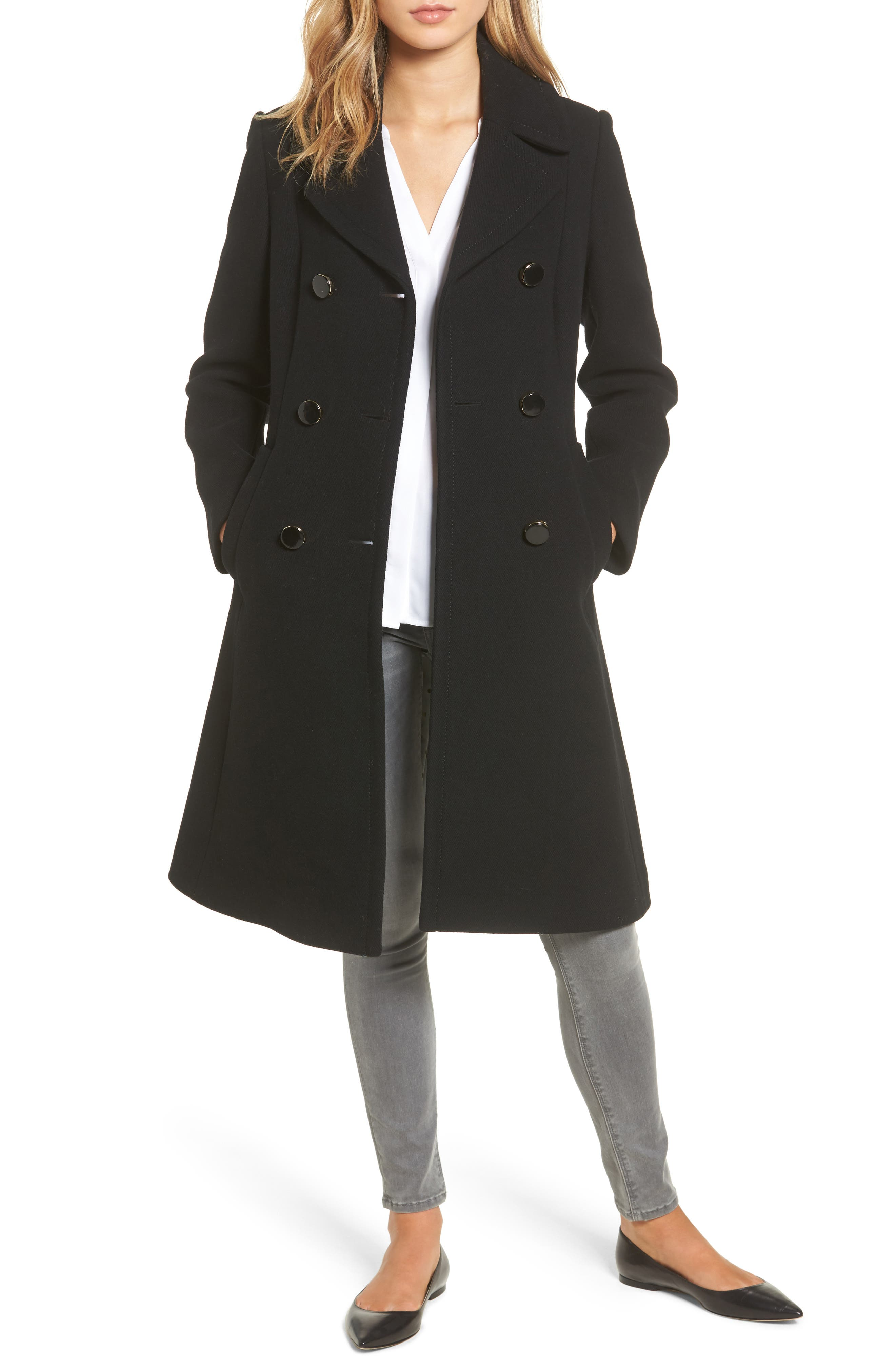 twill fit & flare coat,                             Main thumbnail 1, color,                             001