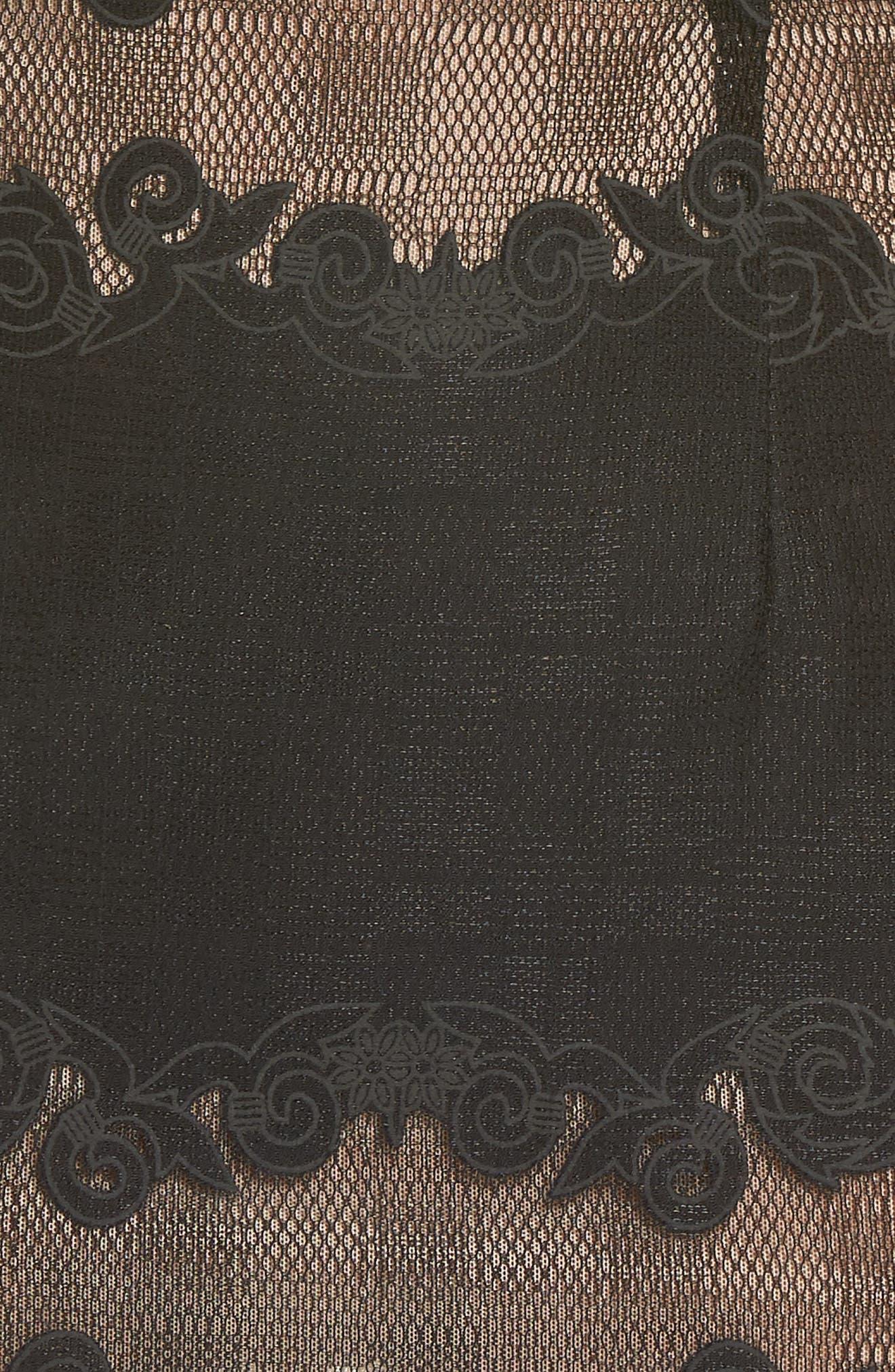 Bettina Lace Panel Tea Length Dress,                             Alternate thumbnail 5, color,                             BLACK