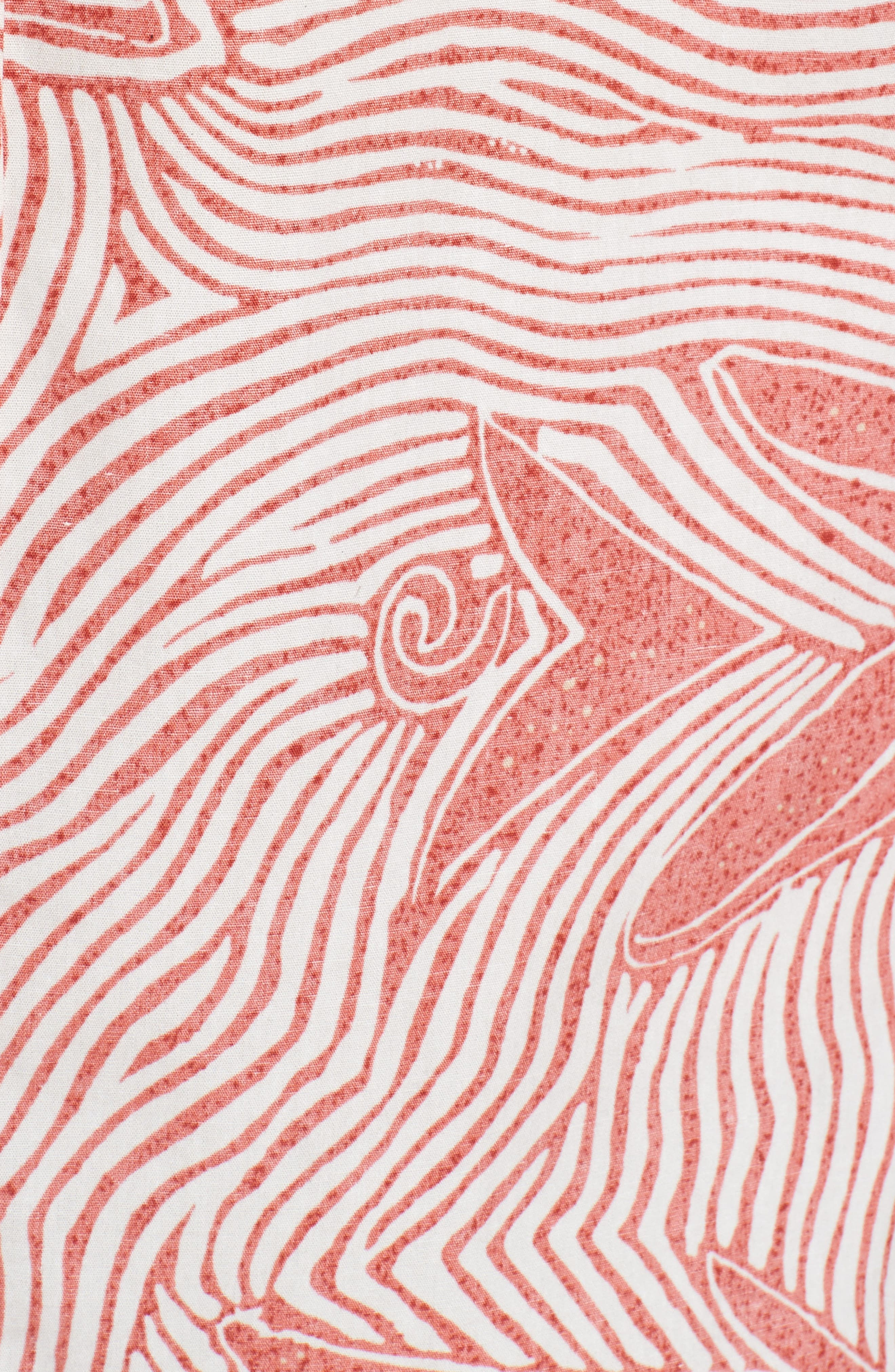 Coral Star Trim Fit Print Sport Shirt,                             Alternate thumbnail 5, color,