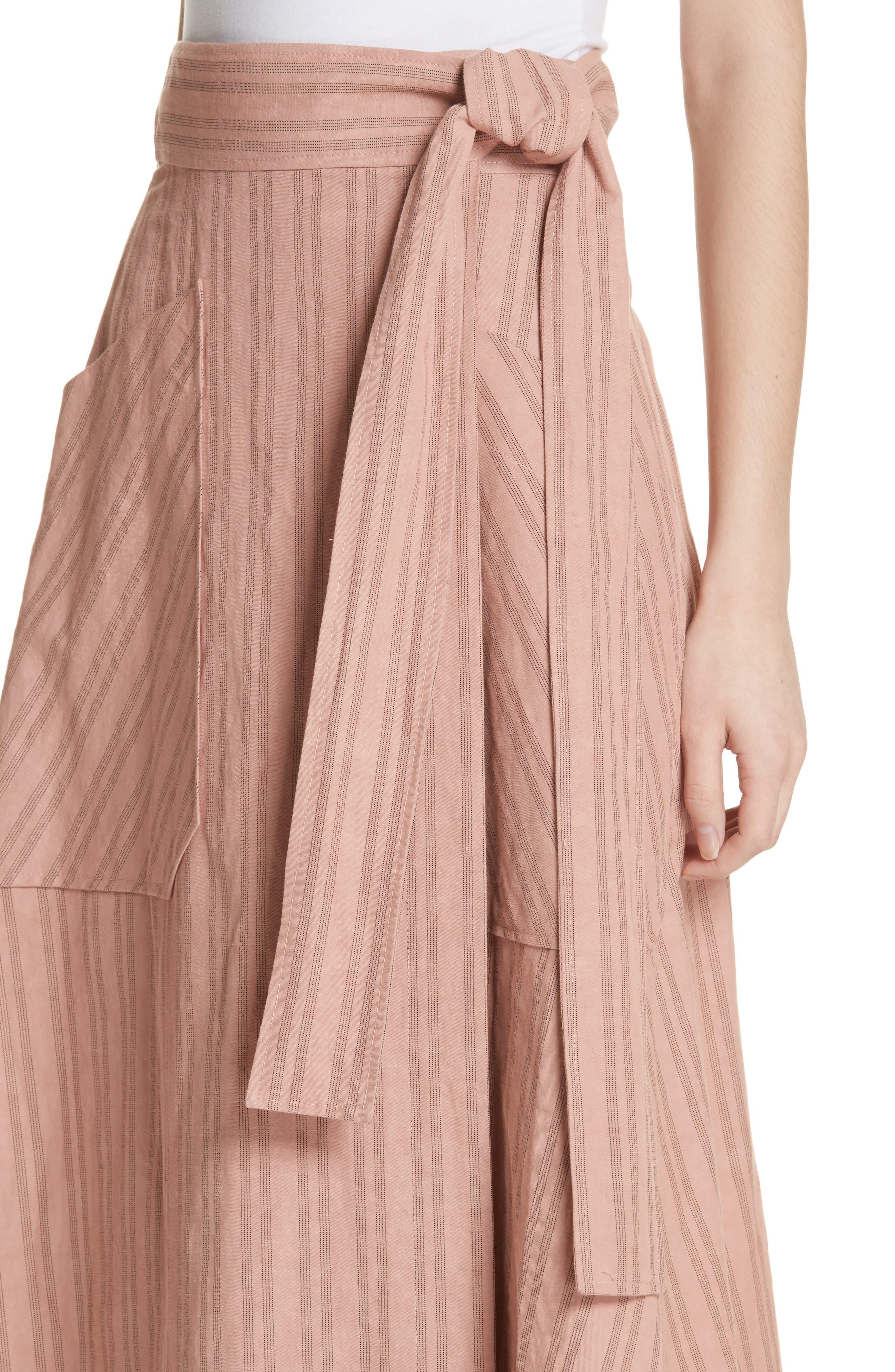 Stripe Wrap Midi Skirt,                             Alternate thumbnail 4, color,                             671