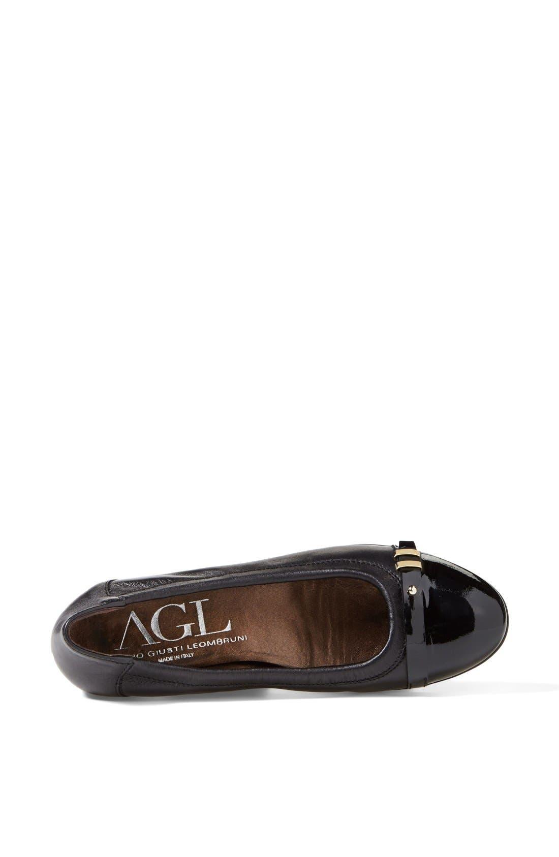 Attilio Giusti Leombruni 'Bella' Patent & Nappa Leather Ballet Flat,                             Alternate thumbnail 2, color,                             002