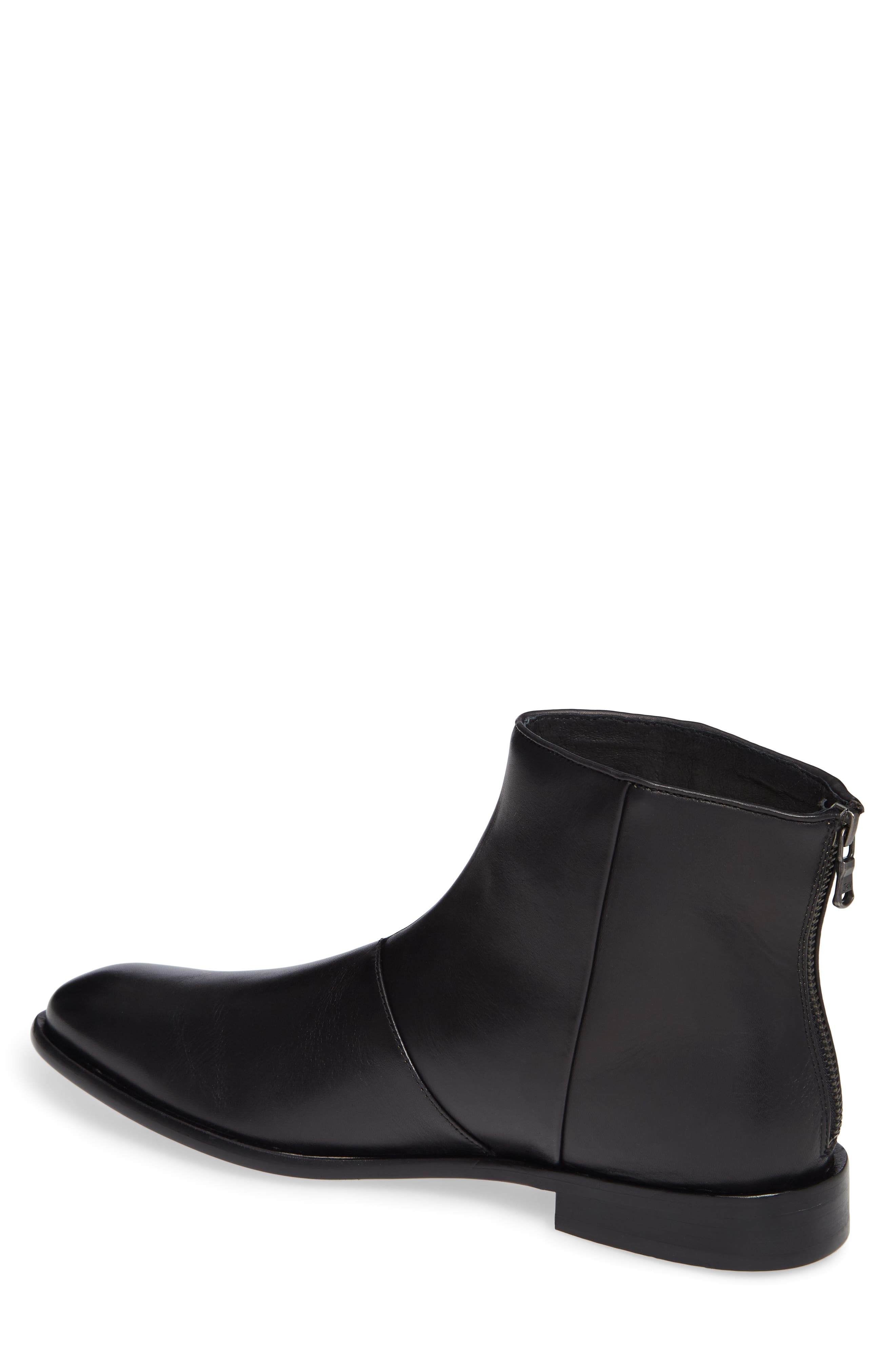 NYC Back Zip Boot,                             Alternate thumbnail 2, color,                             BLACK LEATHER
