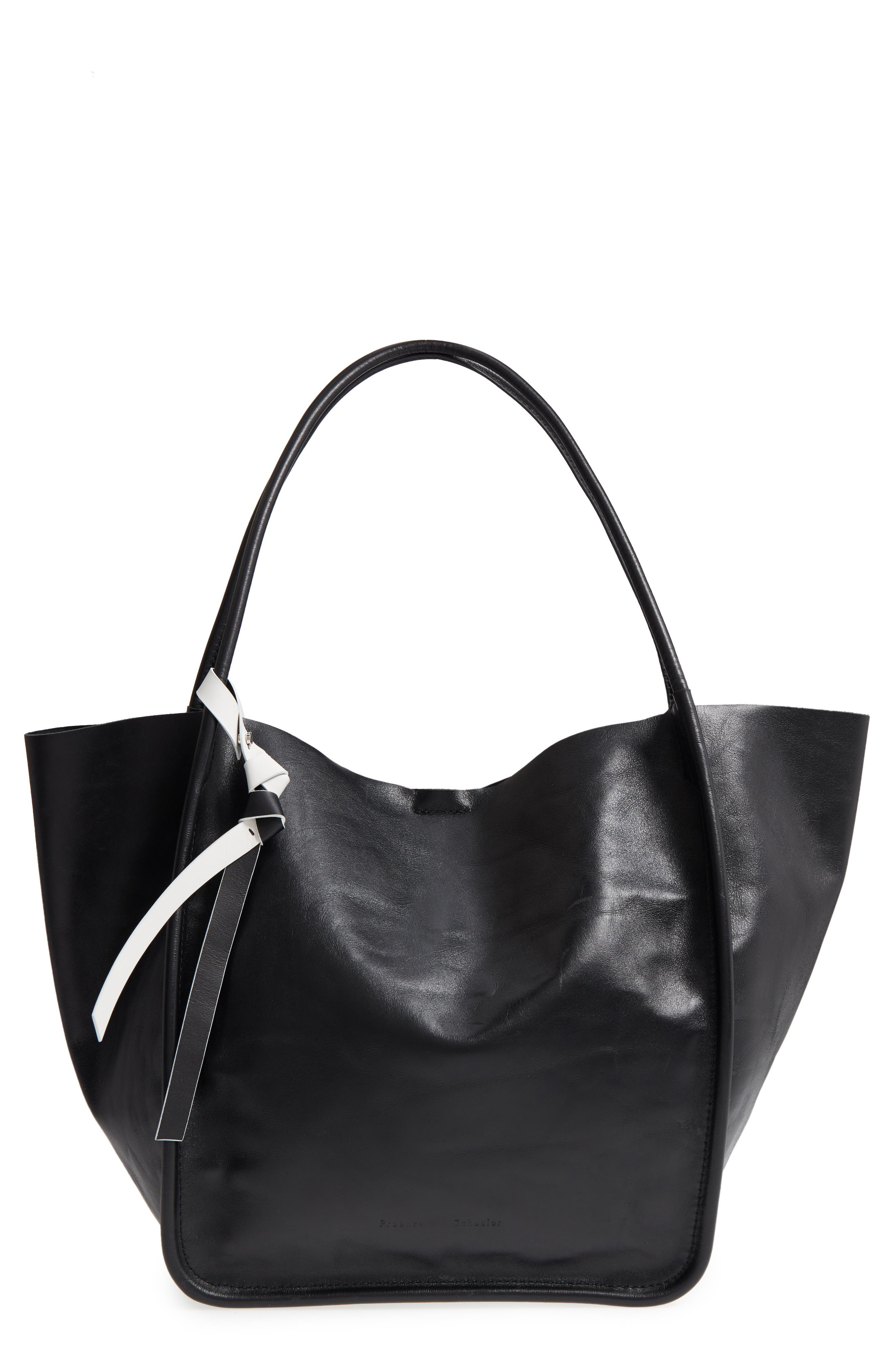 Large Calfskin Leather Tote,                             Main thumbnail 1, color,                             BLACK