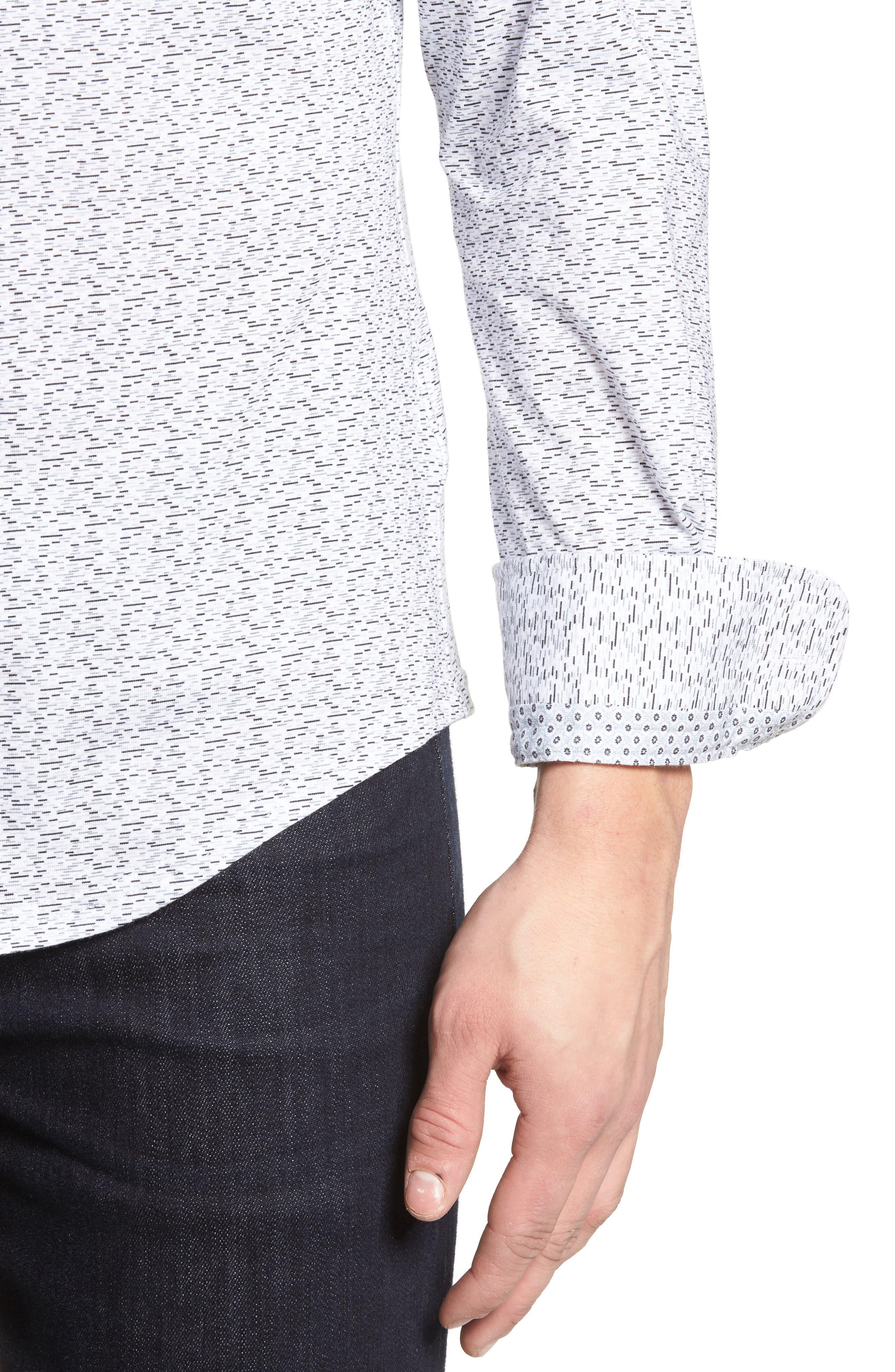 Slim Fit Print Knit Sport Shirt,                             Alternate thumbnail 4, color,                             001