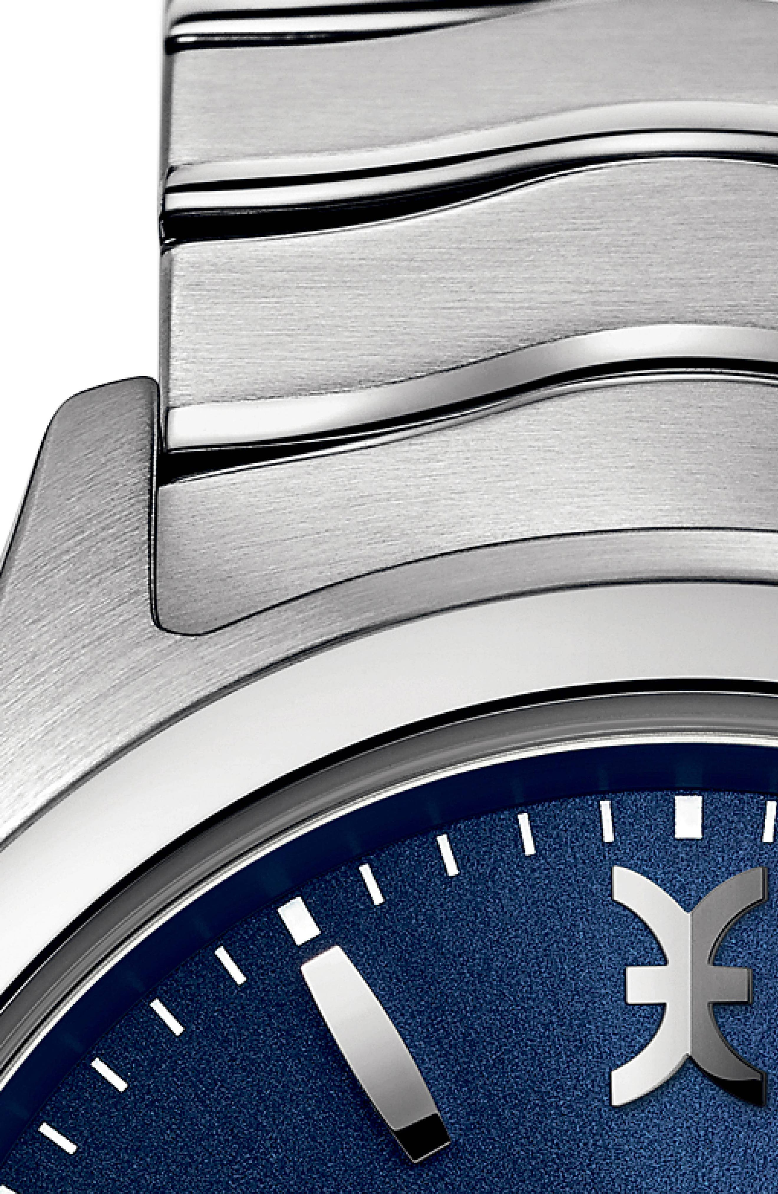 Wave Bracelet Watch, 40mm,                             Alternate thumbnail 2, color,                             SILVER/ BLUE/ SILVER