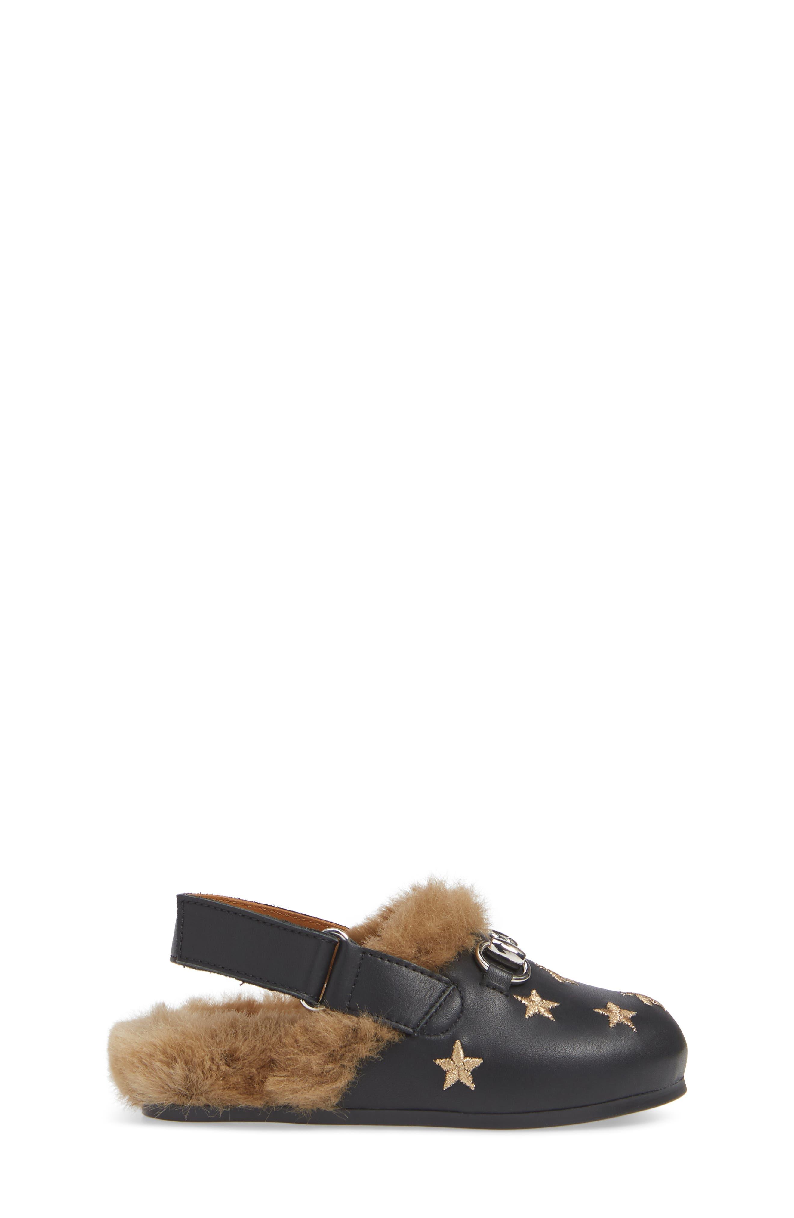 Horsebit Embroidered Sandal,                             Alternate thumbnail 3, color,                             BLACK/GOLD STARS