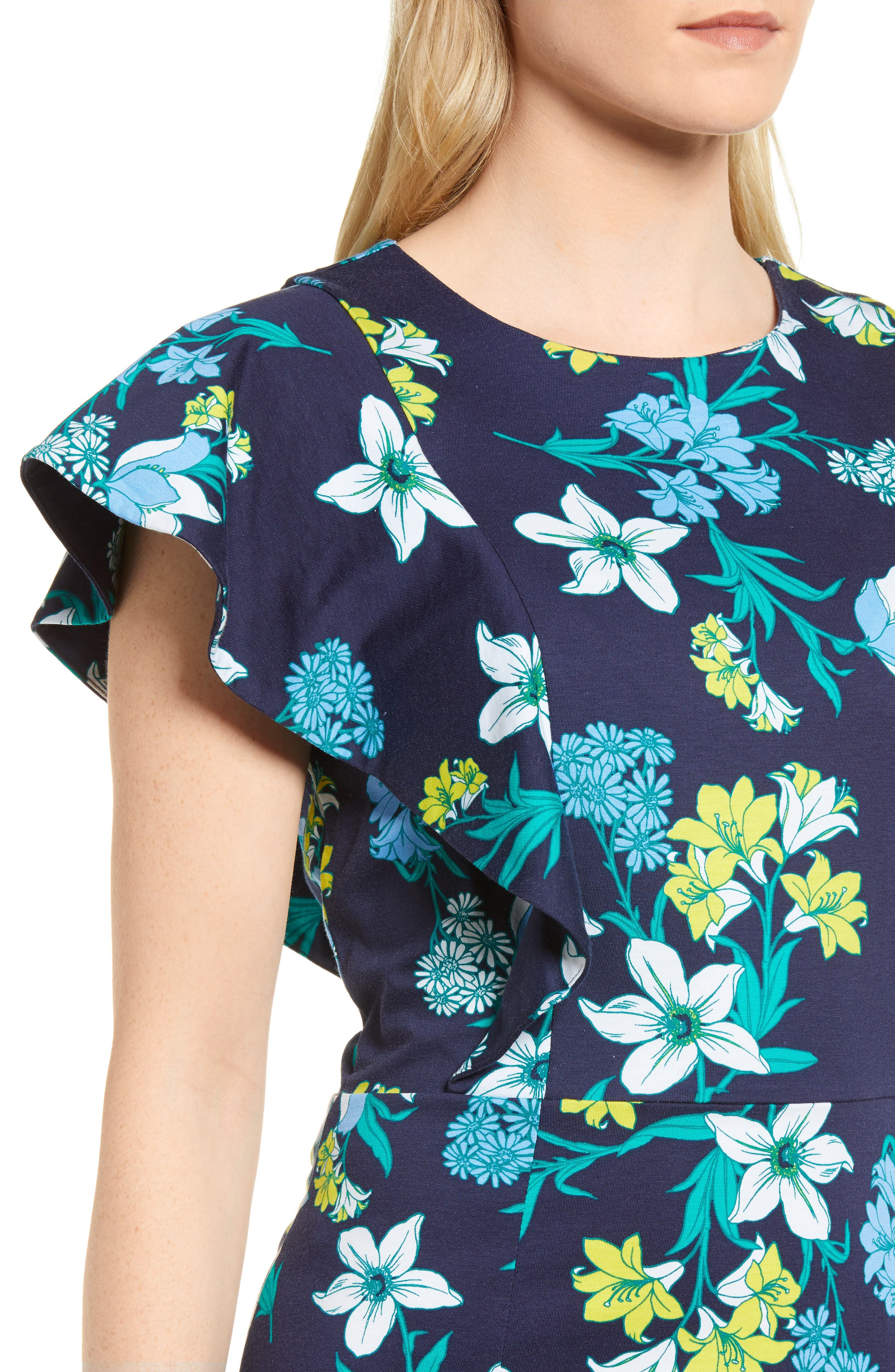 Floral Ruffle Cotton Dress,                             Alternate thumbnail 4, color,