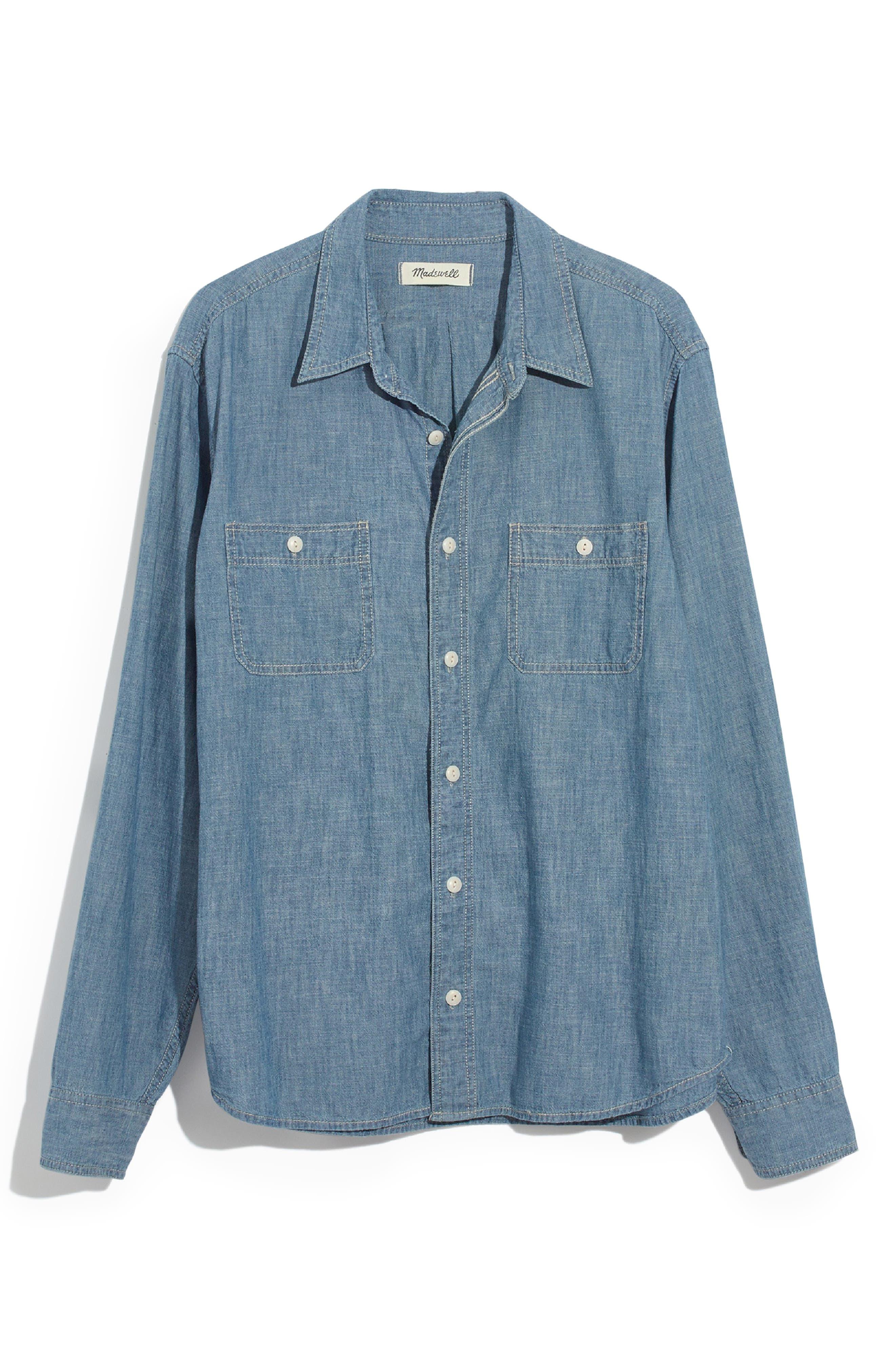 Classic Button Down Shirt,                             Alternate thumbnail 5, color,                             LESSING WASH
