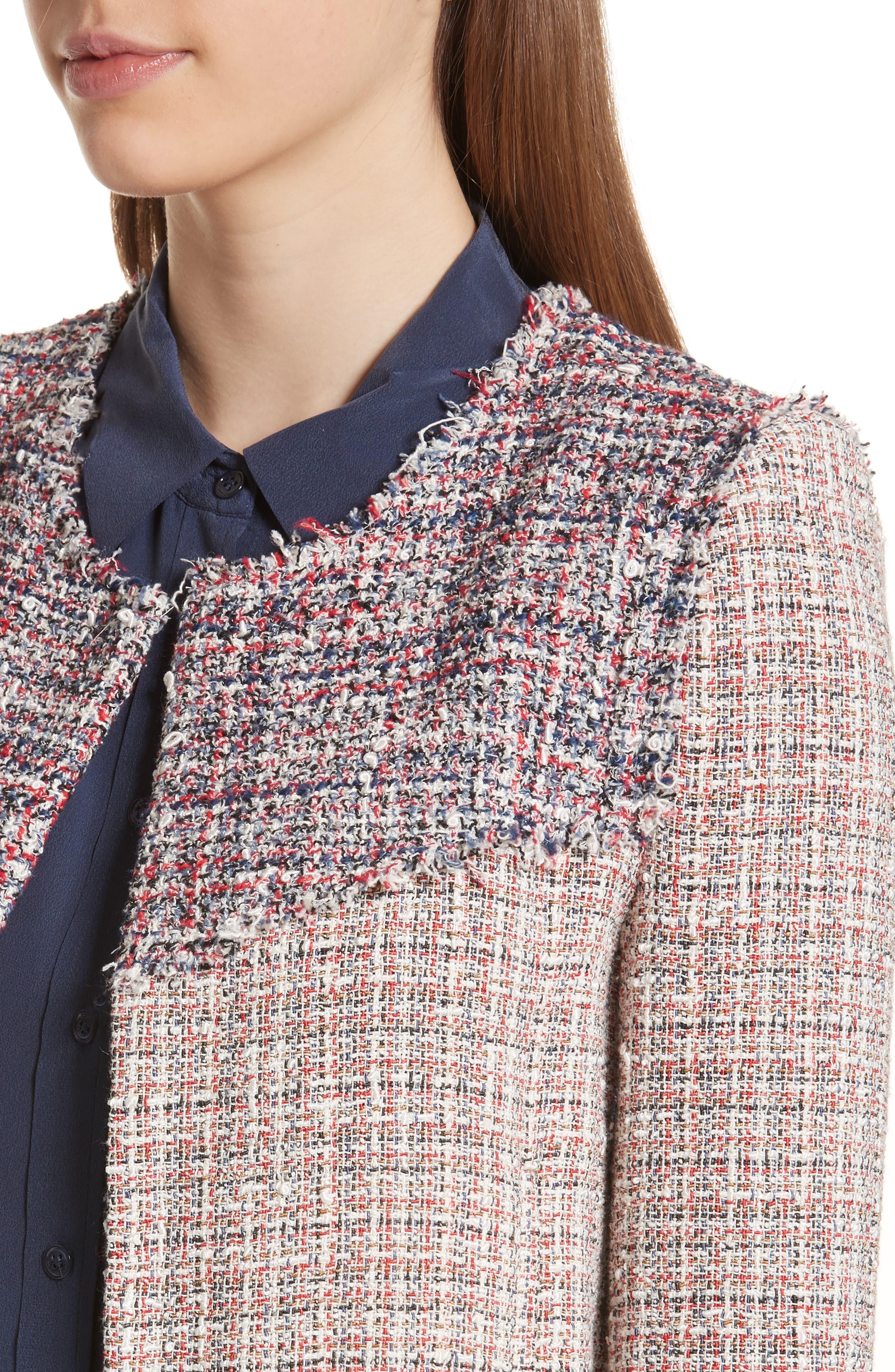 Walefa Tweed Jacket,                             Alternate thumbnail 4, color,                             651