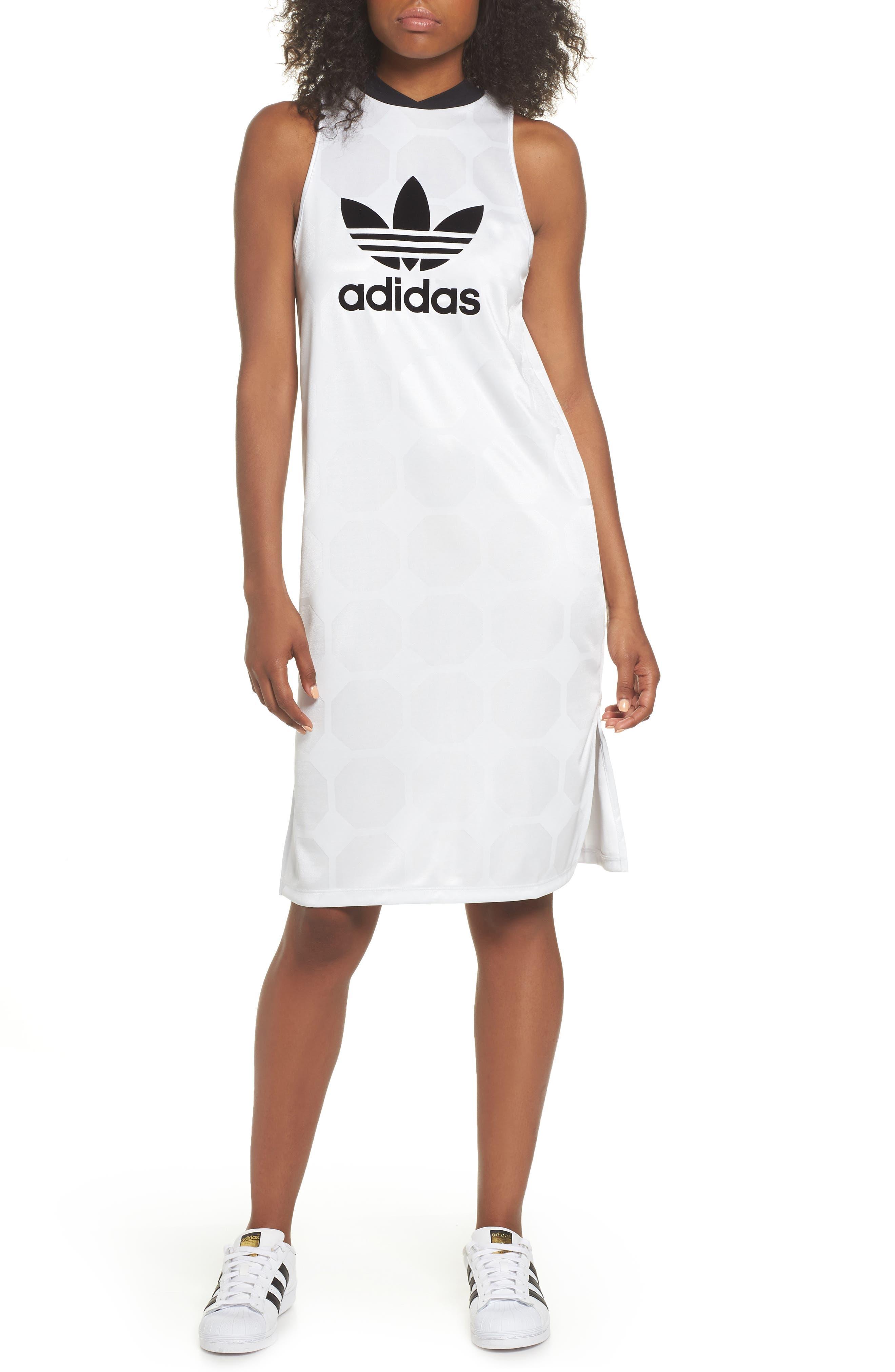 Fashion League Trefoil Jacquard Tank Dress,                             Main thumbnail 1, color,                             100