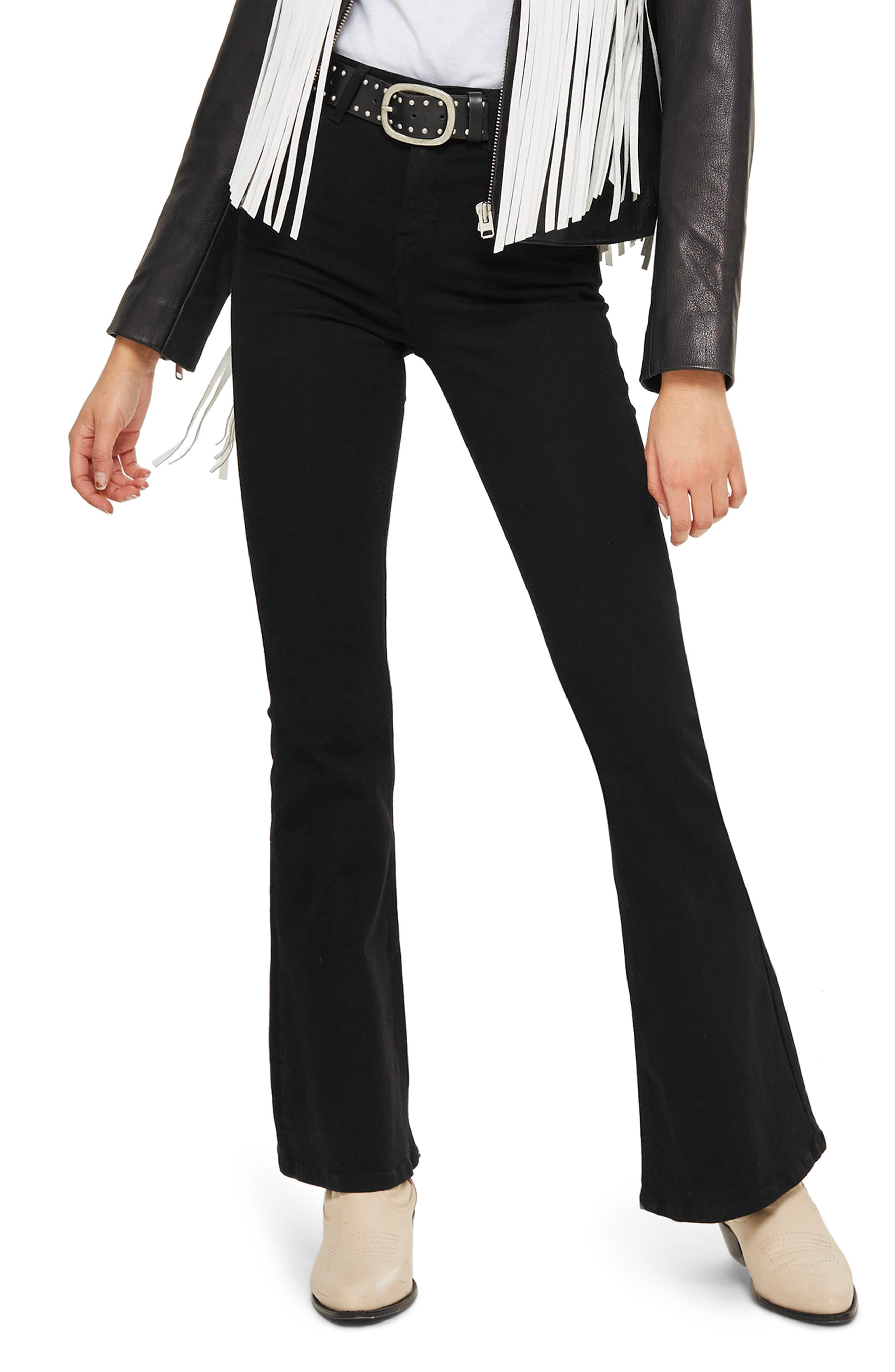 Jamie Flare Jeans,                         Main,                         color, BLACK