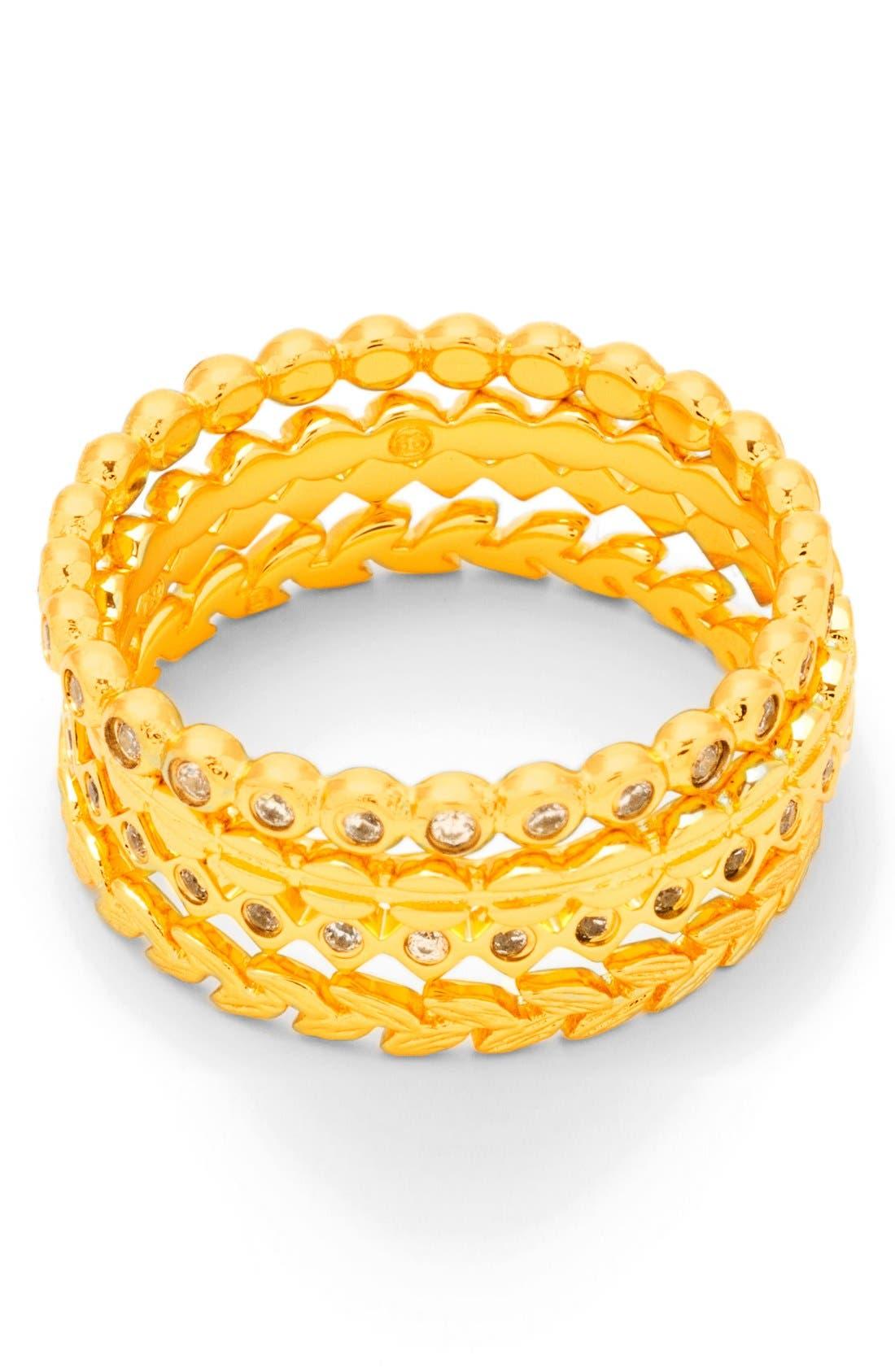 Stackable Set of 4 Band Rings,                             Main thumbnail 1, color,                             GOLD