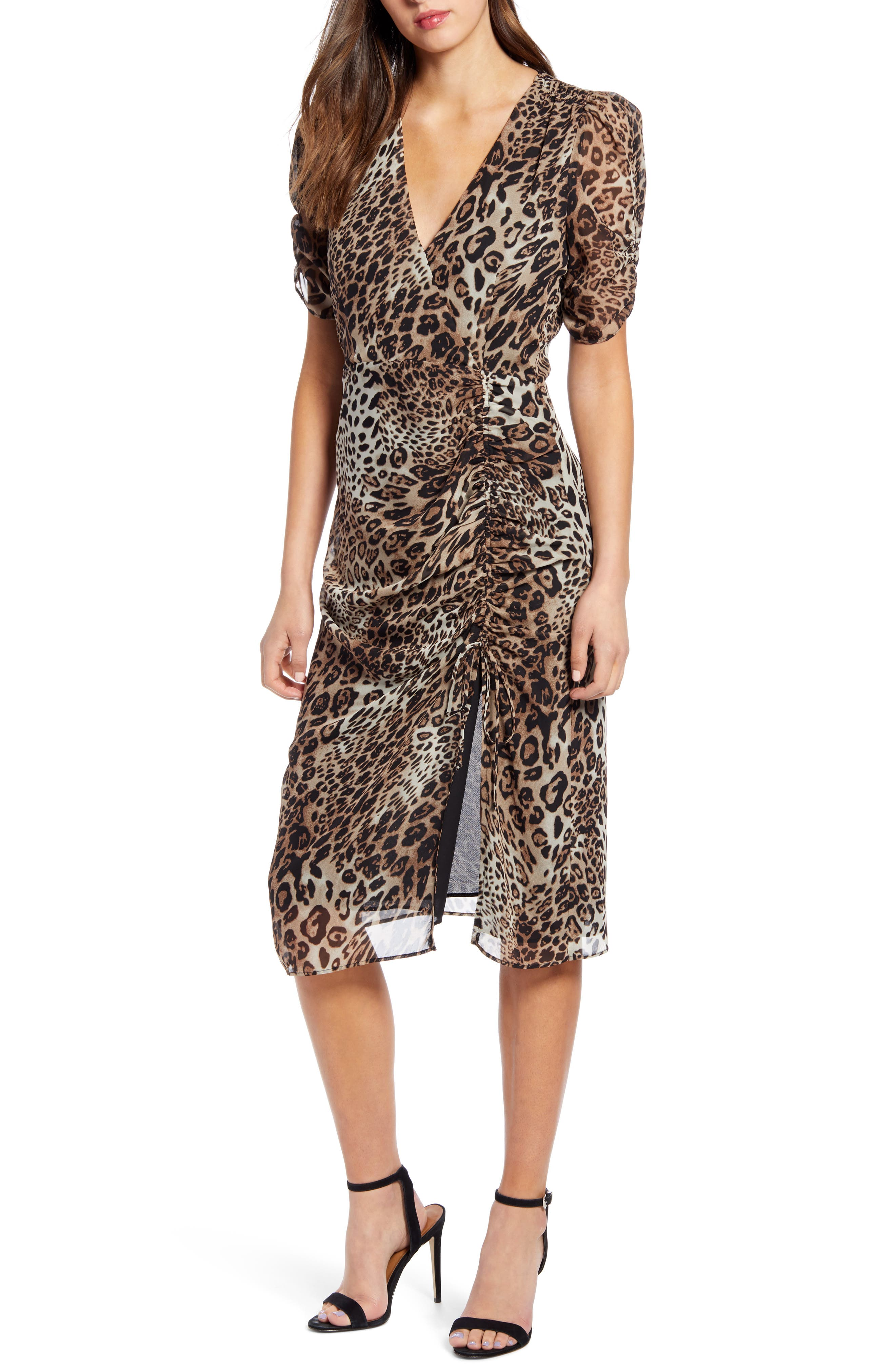 Astr The Label Leopard Print Ruched Dress, Black