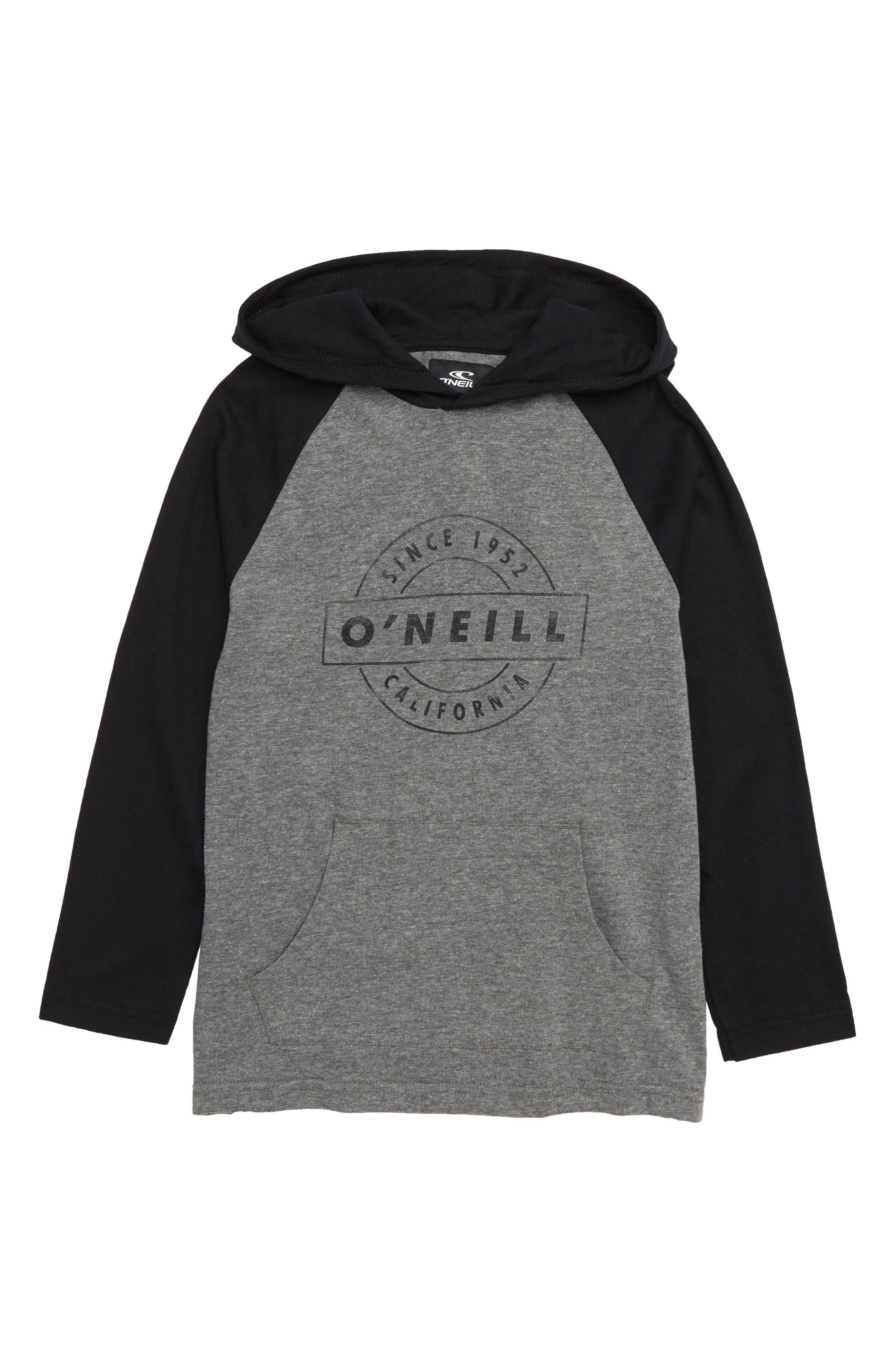 Boys ONeill Mateo Hooded TShirt Size L (7)  Grey