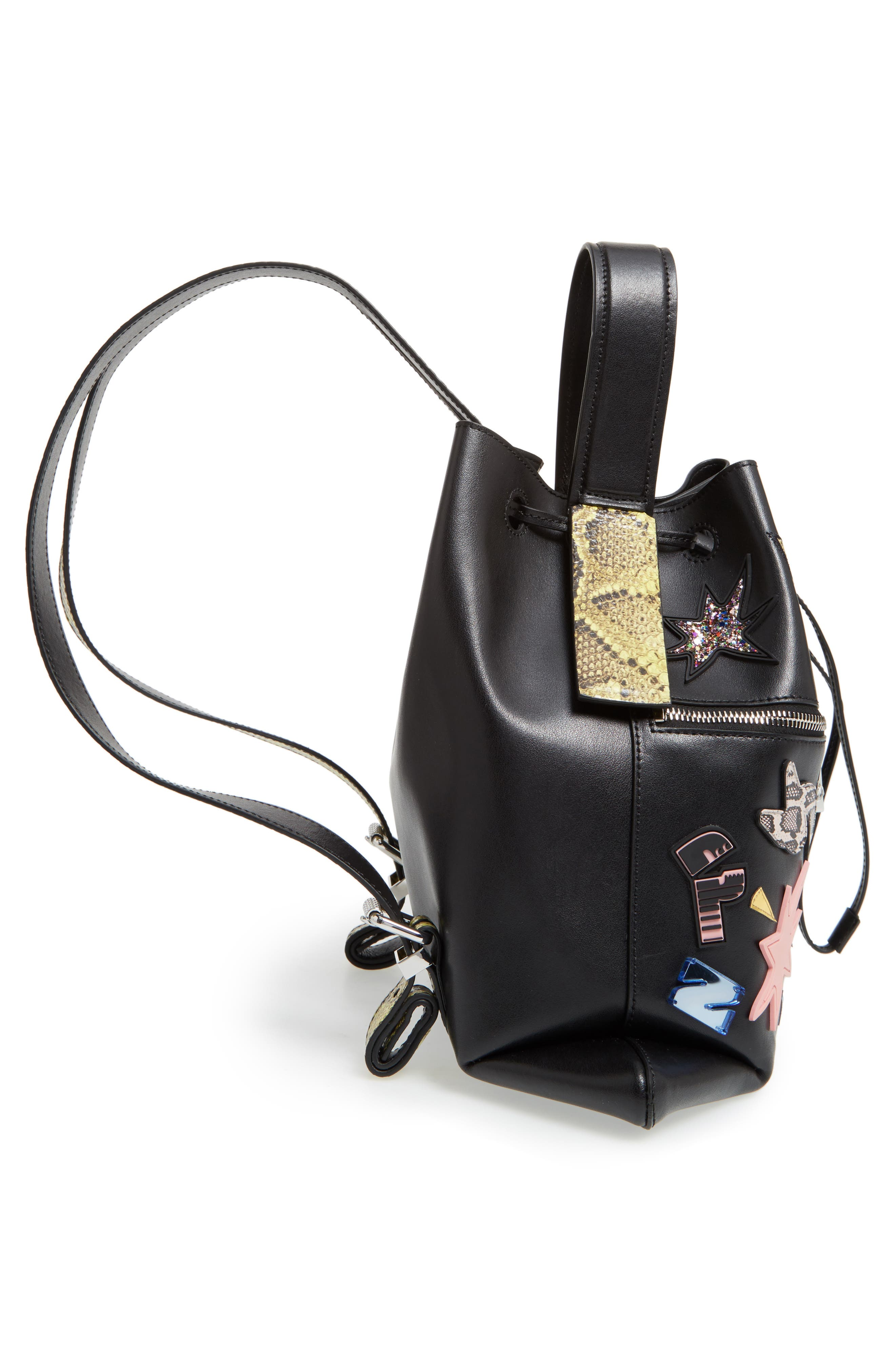 Rizo Badge Leather Backpack,                             Alternate thumbnail 6, color,                             001