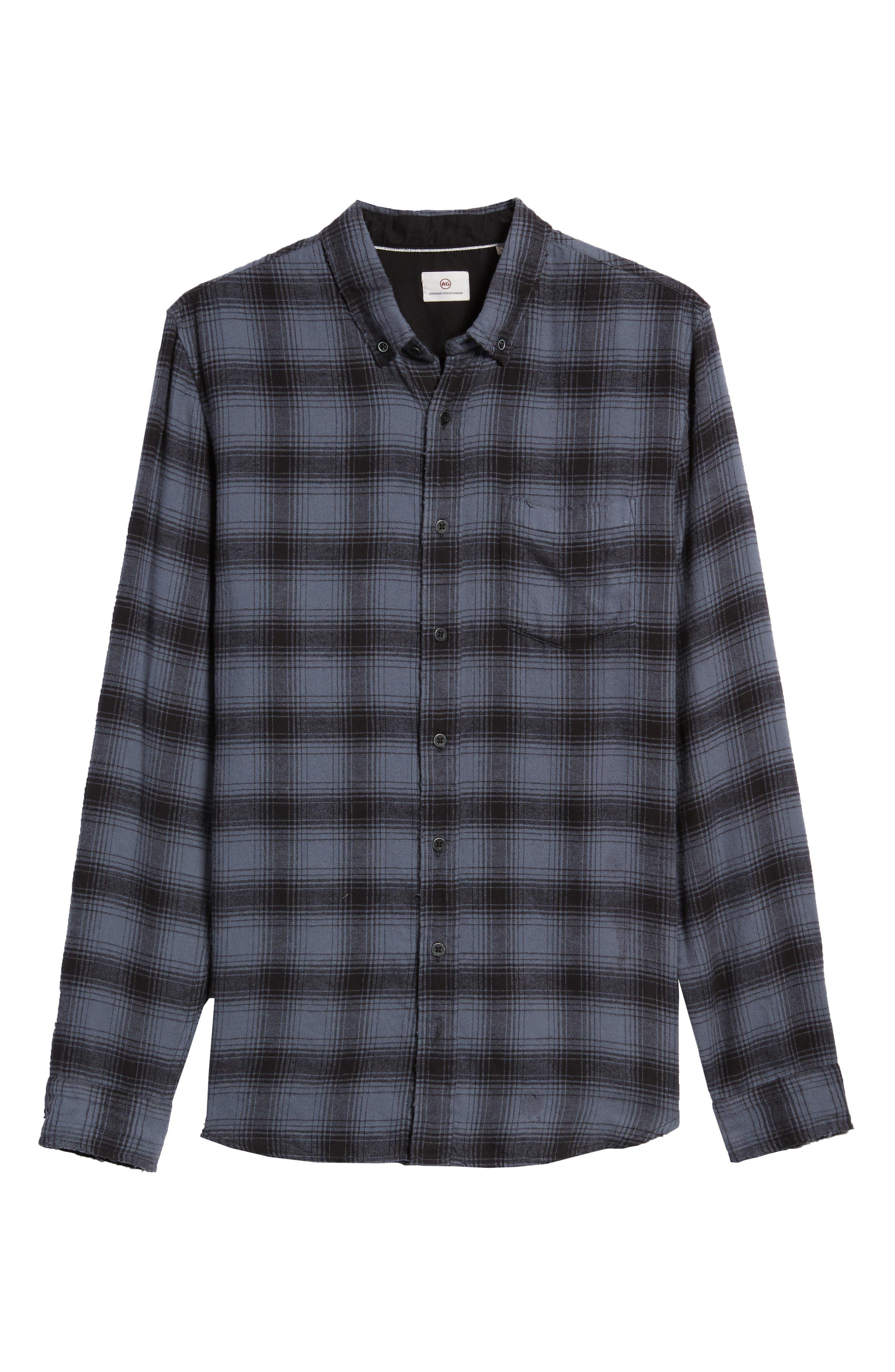 Grady Plaid Flannel Sport Shirt,                             Alternate thumbnail 6, color,                             008