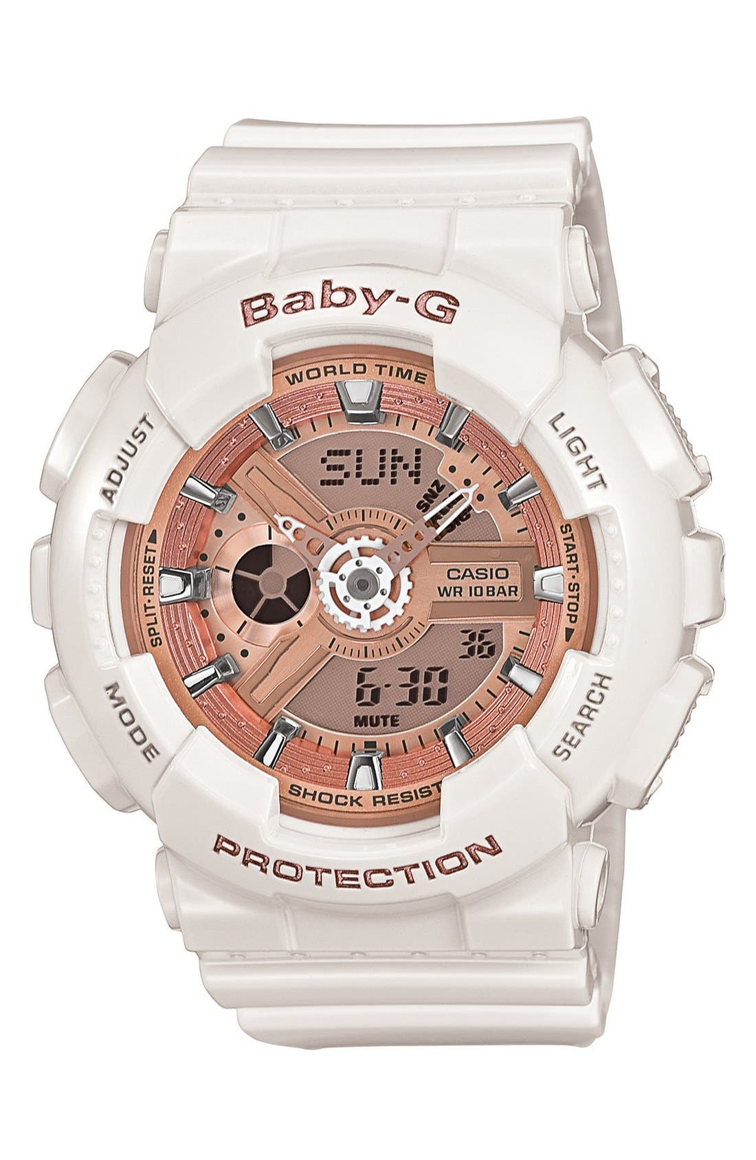 Baby-G 'Mini Gloss' Ana-Digi Watch, 43mm,                             Main thumbnail 1, color,                             WHITE/ CHAMPAGNE