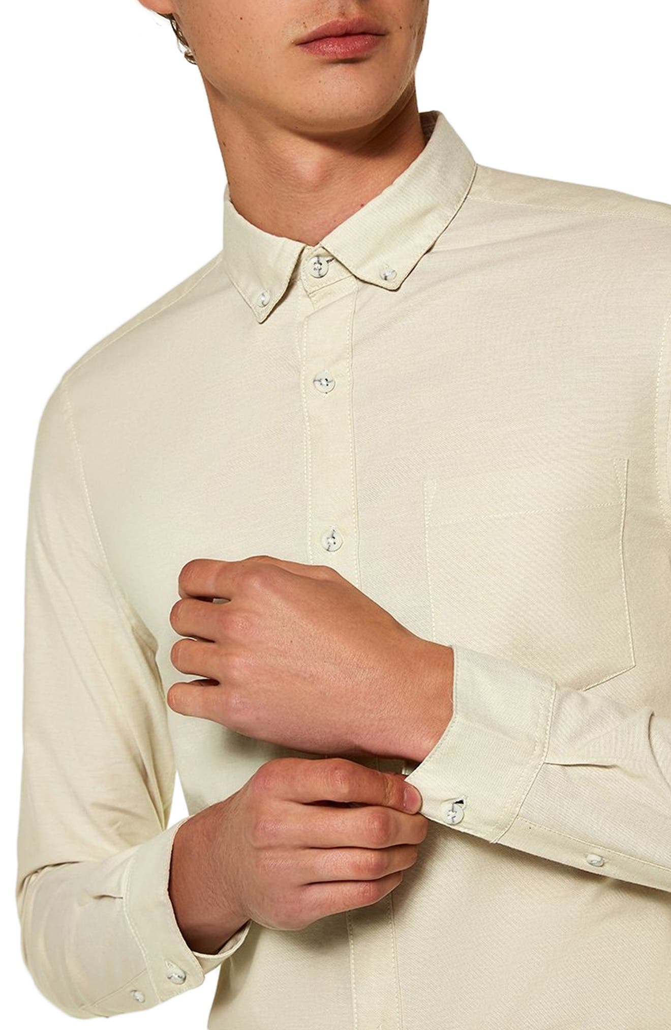 Muscle Fit Stripe Oxford Shirt,                             Alternate thumbnail 2, color,                             STONE