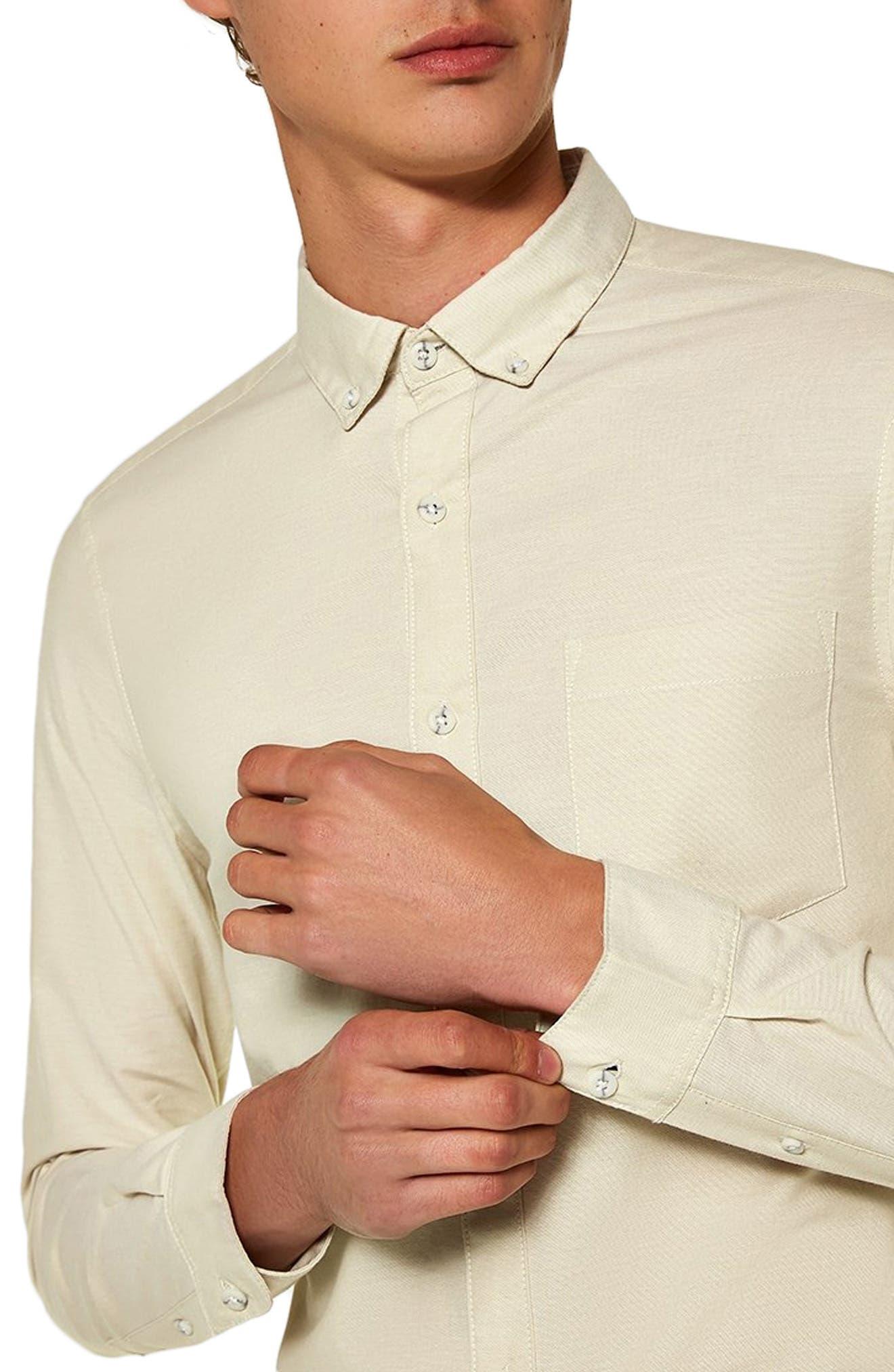 TOPMAN,                             Muscle Fit Stripe Oxford Shirt,                             Alternate thumbnail 2, color,                             250
