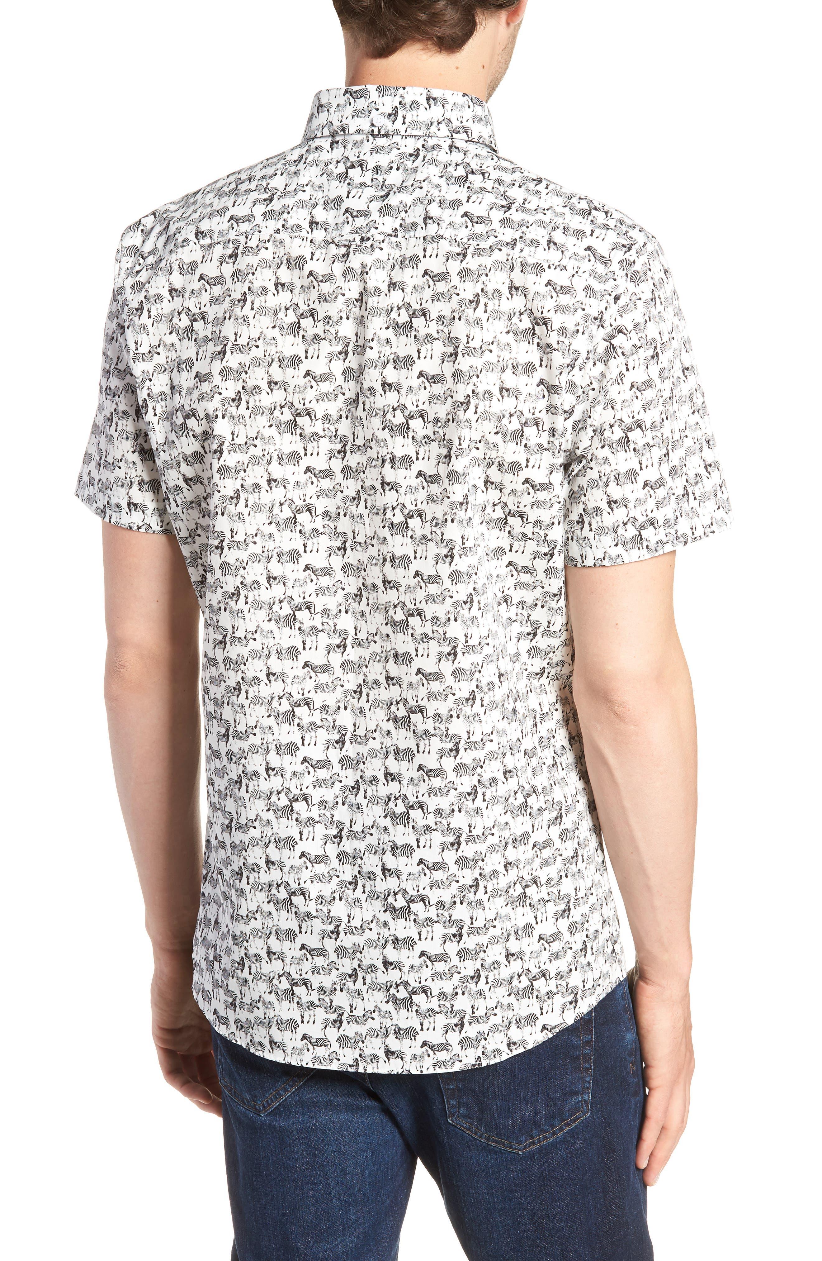 Trim Fit Print Short Sleeve Sport Shirt,                             Alternate thumbnail 2, color,                             BLACK WHITE ZEBRAS