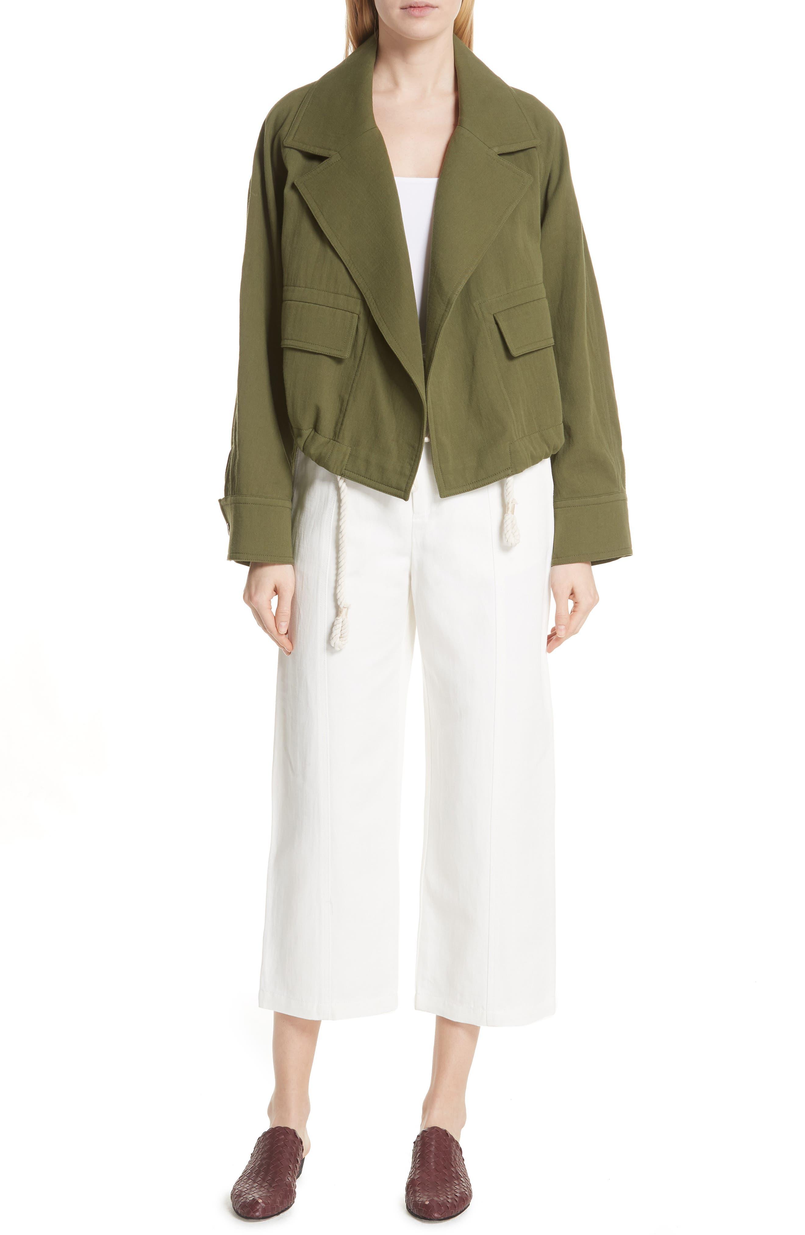 VINCE,                             Drawstring Crop Cotton Jacket,                             Alternate thumbnail 7, color,                             315