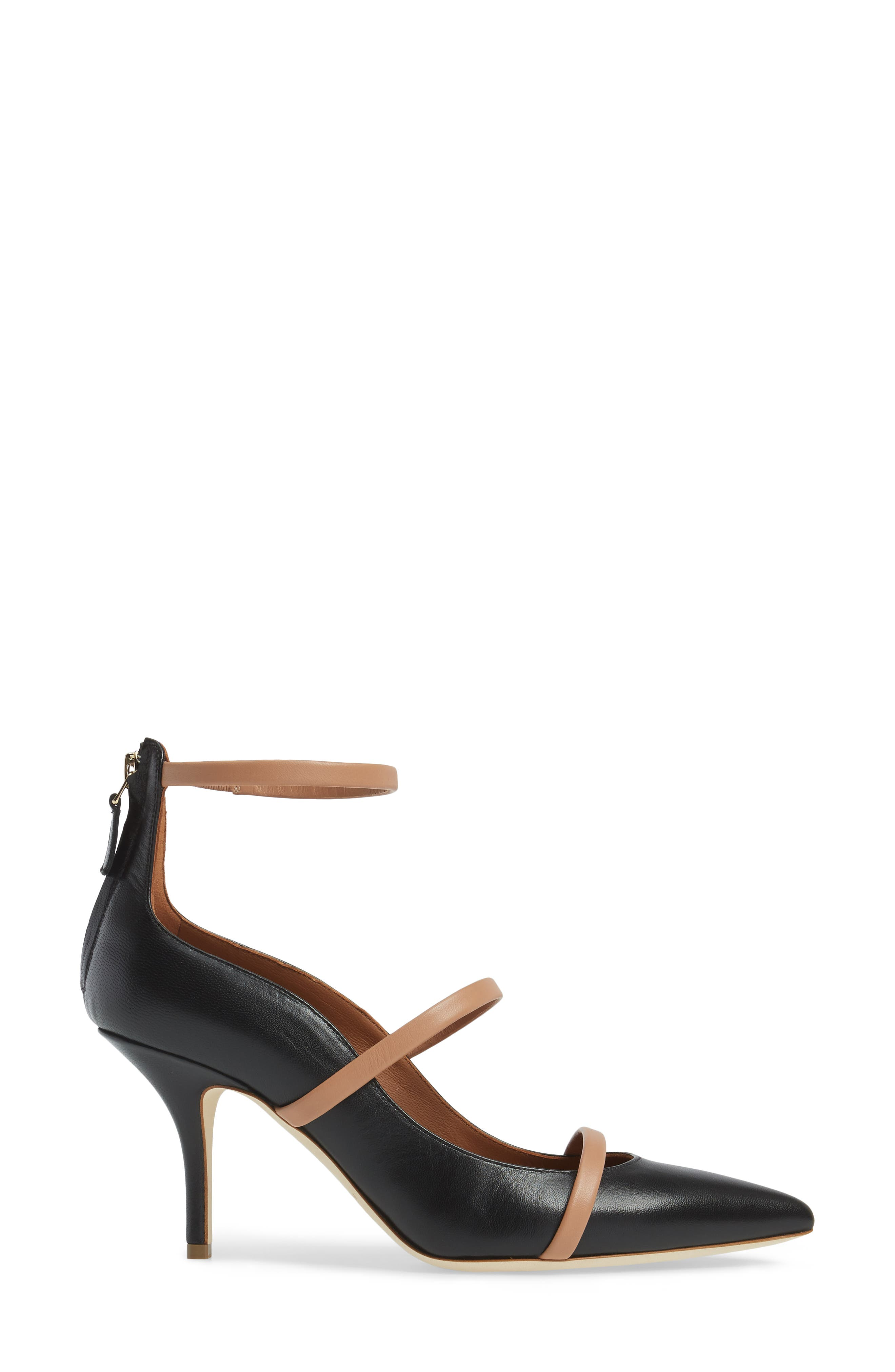 Robyn Ankle Strap Pump,                             Alternate thumbnail 3, color,                             BLACK/ NUDE