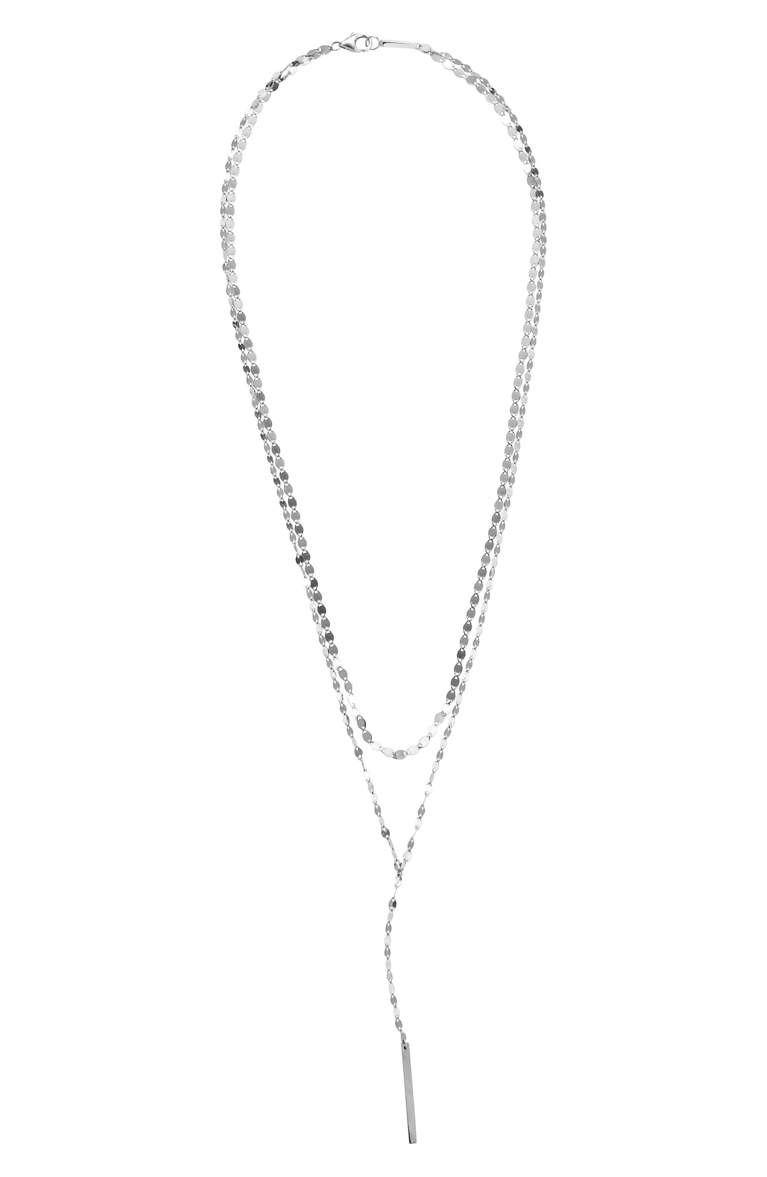 Y-Necklace,                             Main thumbnail 1, color,                             WHITE GOLD