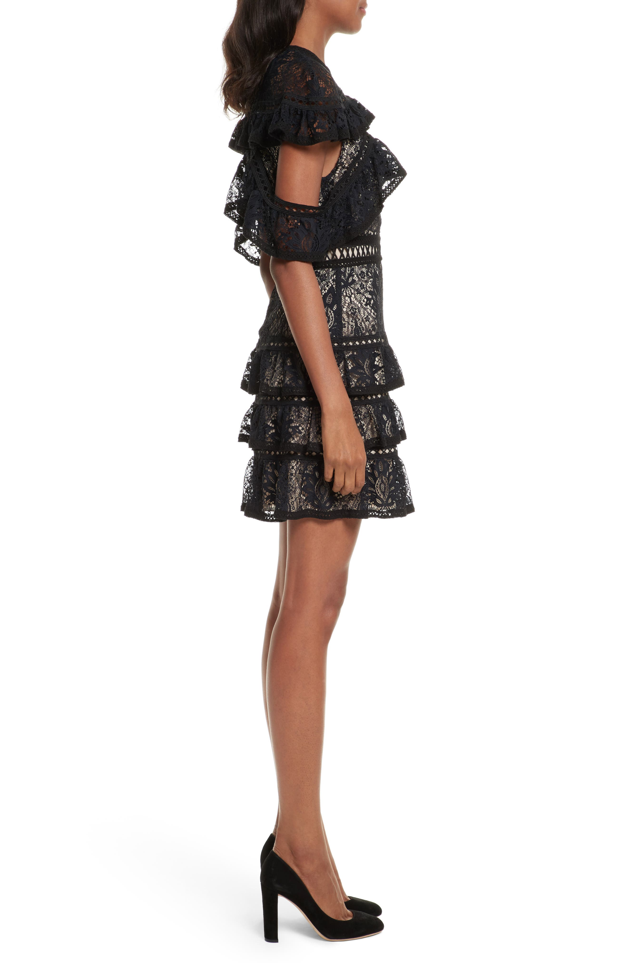 Jolie Tiered Ruffle Lace Dress,                             Alternate thumbnail 3, color,                             009