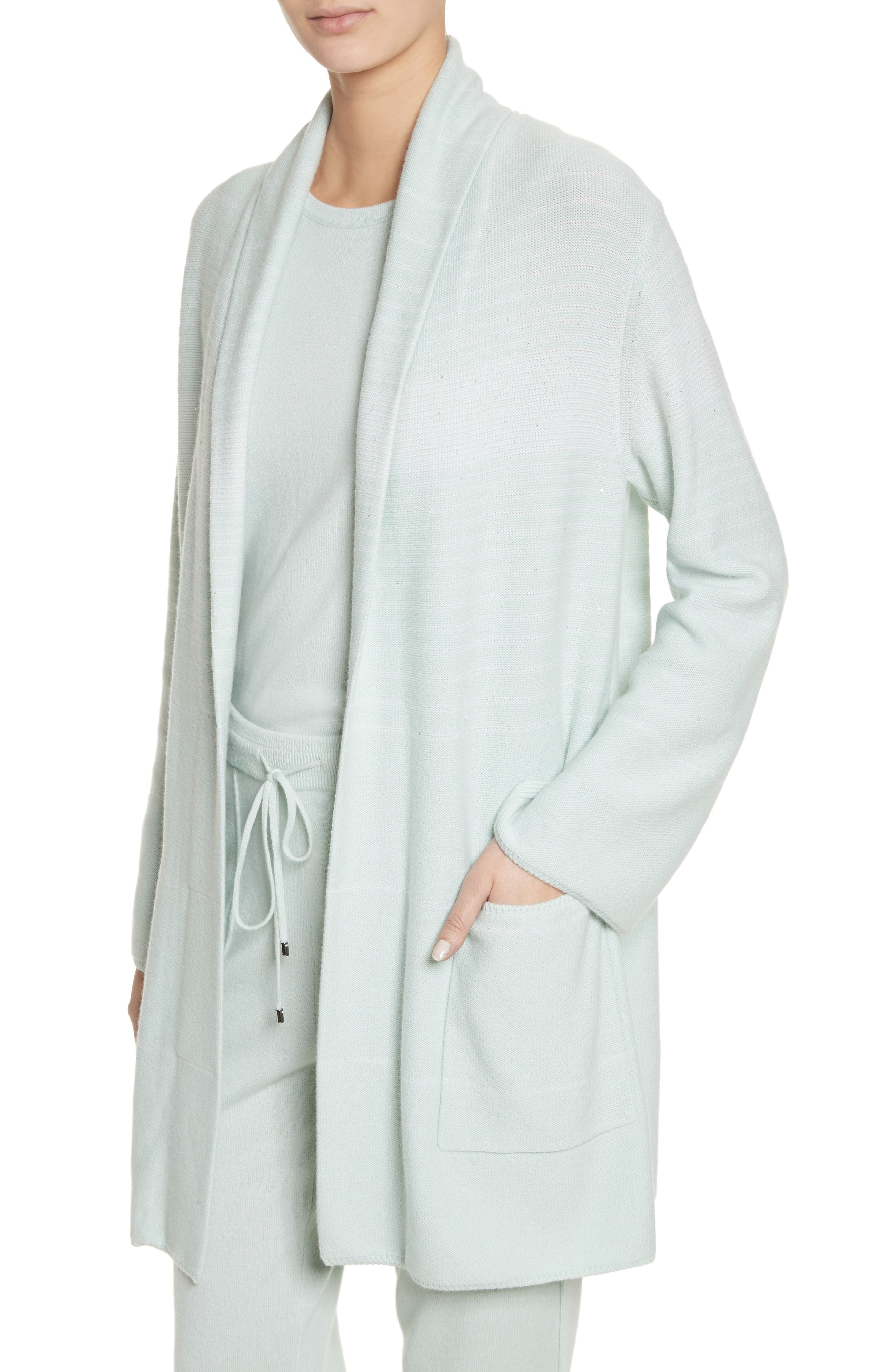 Sequin Cashmere & Silk Cardigan,                             Alternate thumbnail 4, color,