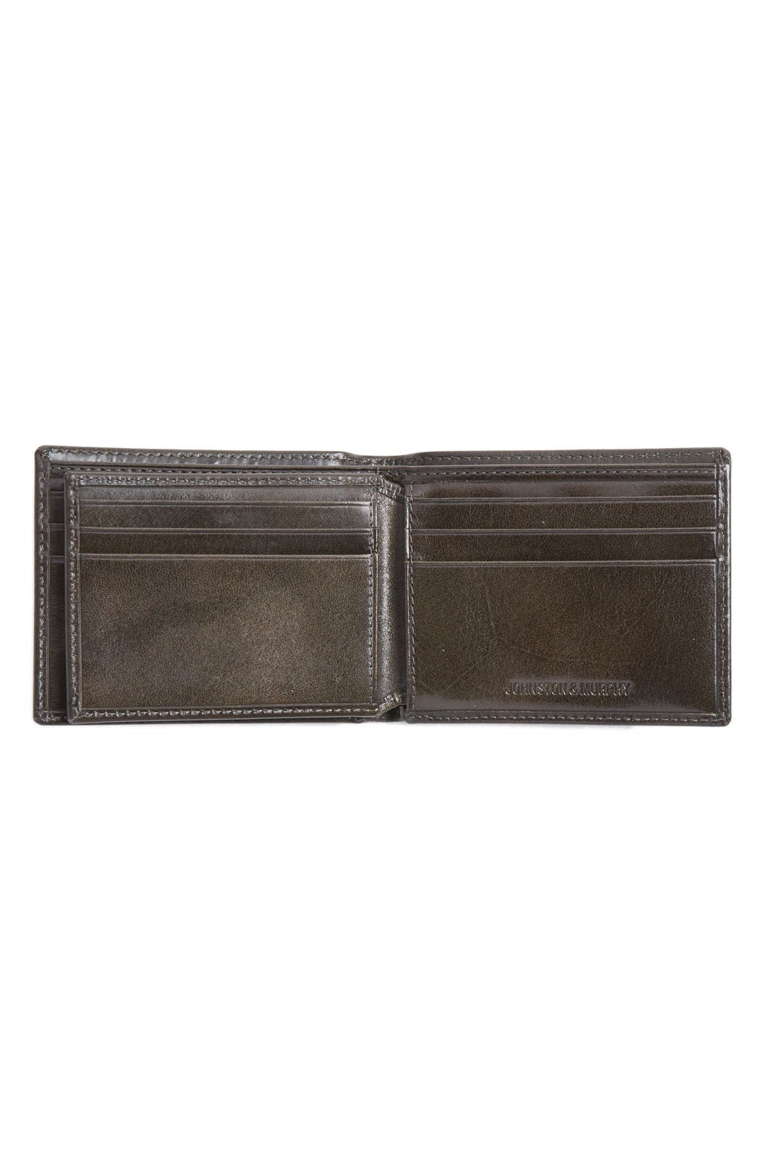 Flip Billfold Leather Wallet,                             Alternate thumbnail 3, color,                             CHARCOAL