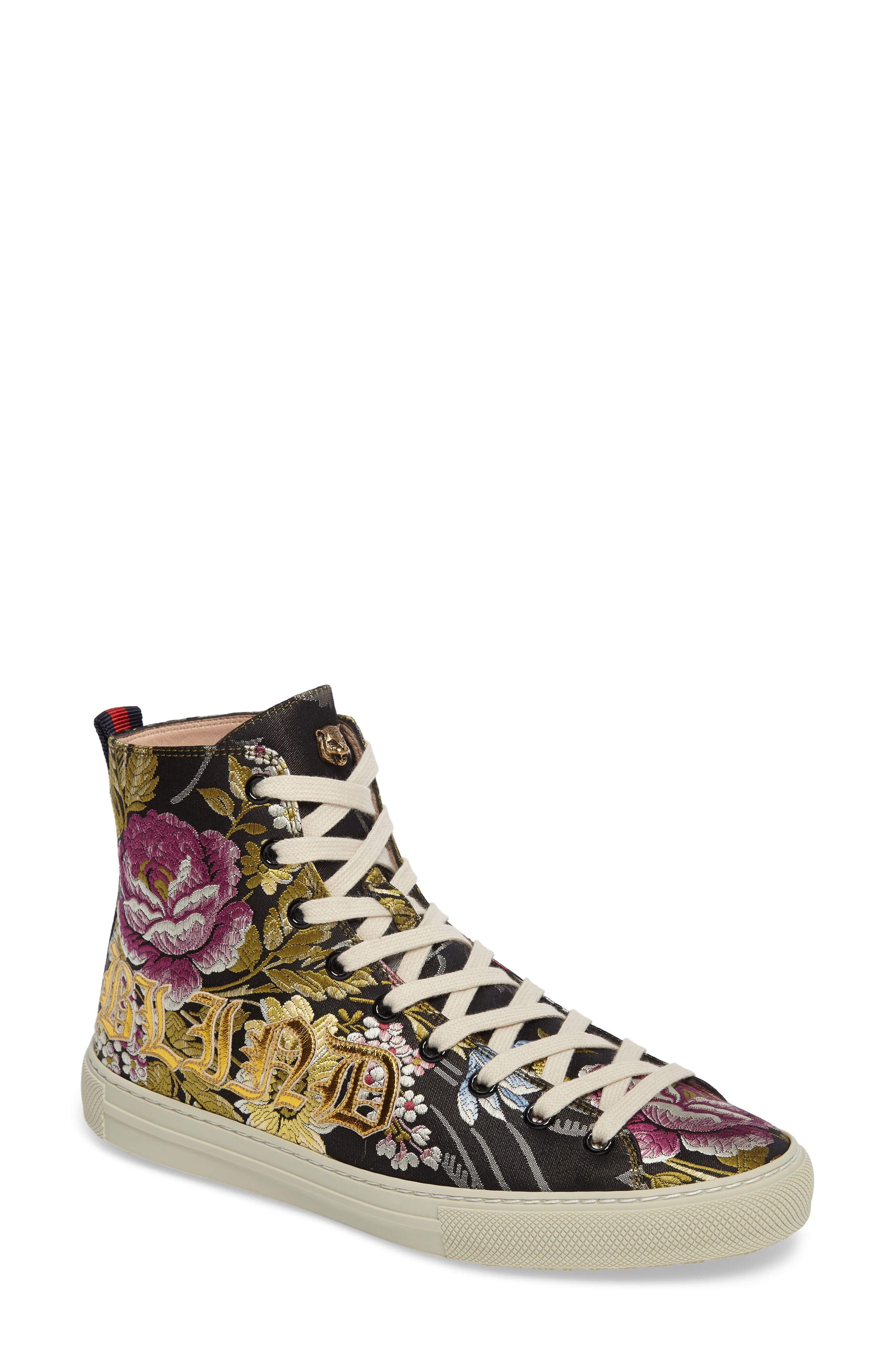 Floral High Top Sneaker,                             Main thumbnail 1, color,                             001