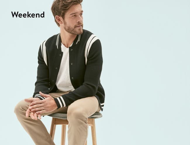 Men's weekend clothing, shoes and accessories.