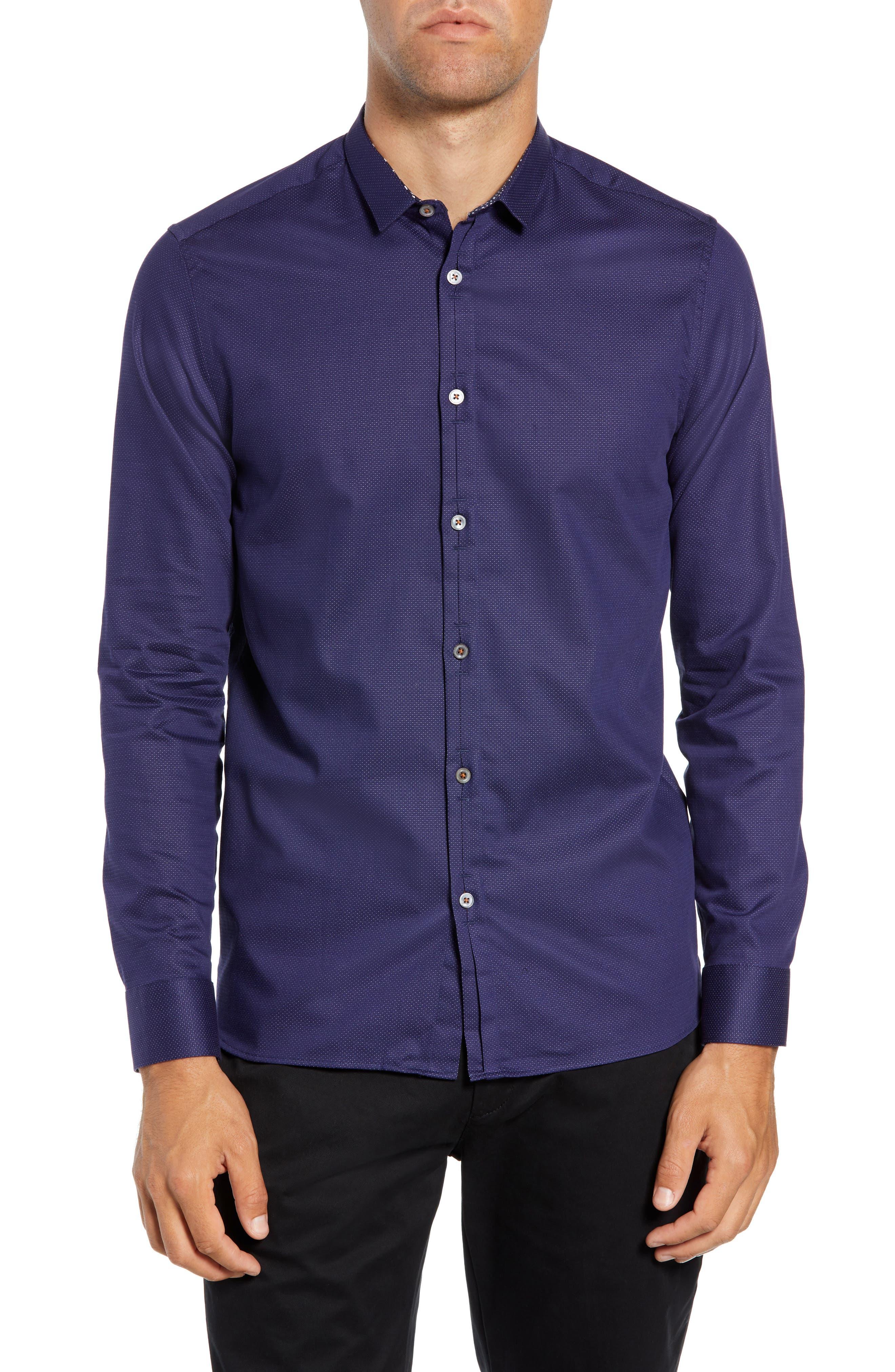 Surrey Q Slim Fit Sport Shirt,                         Main,                         color, NAVY