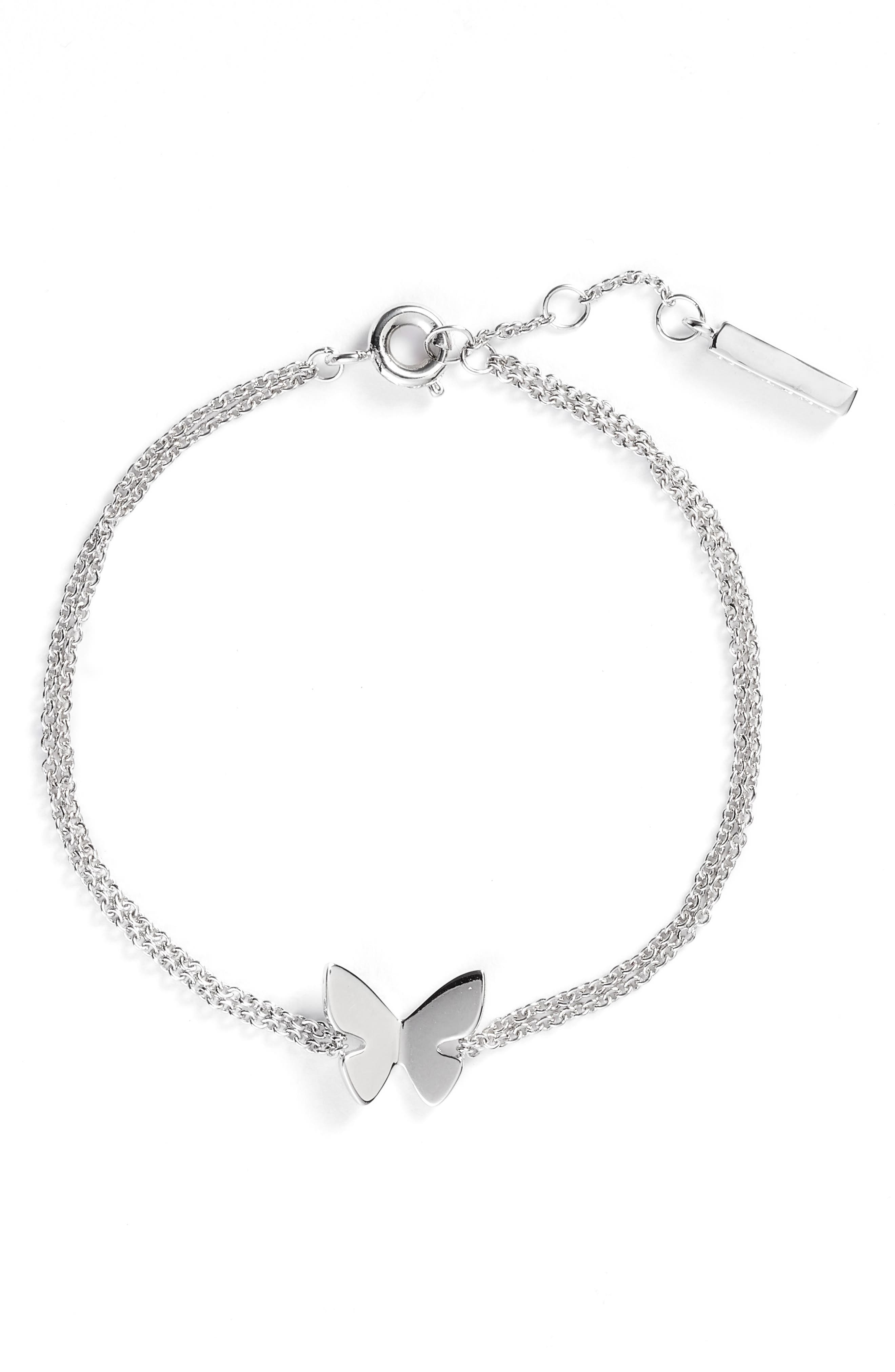 Social Butterfly Chain Bracelet,                             Main thumbnail 1, color,                             SILVER