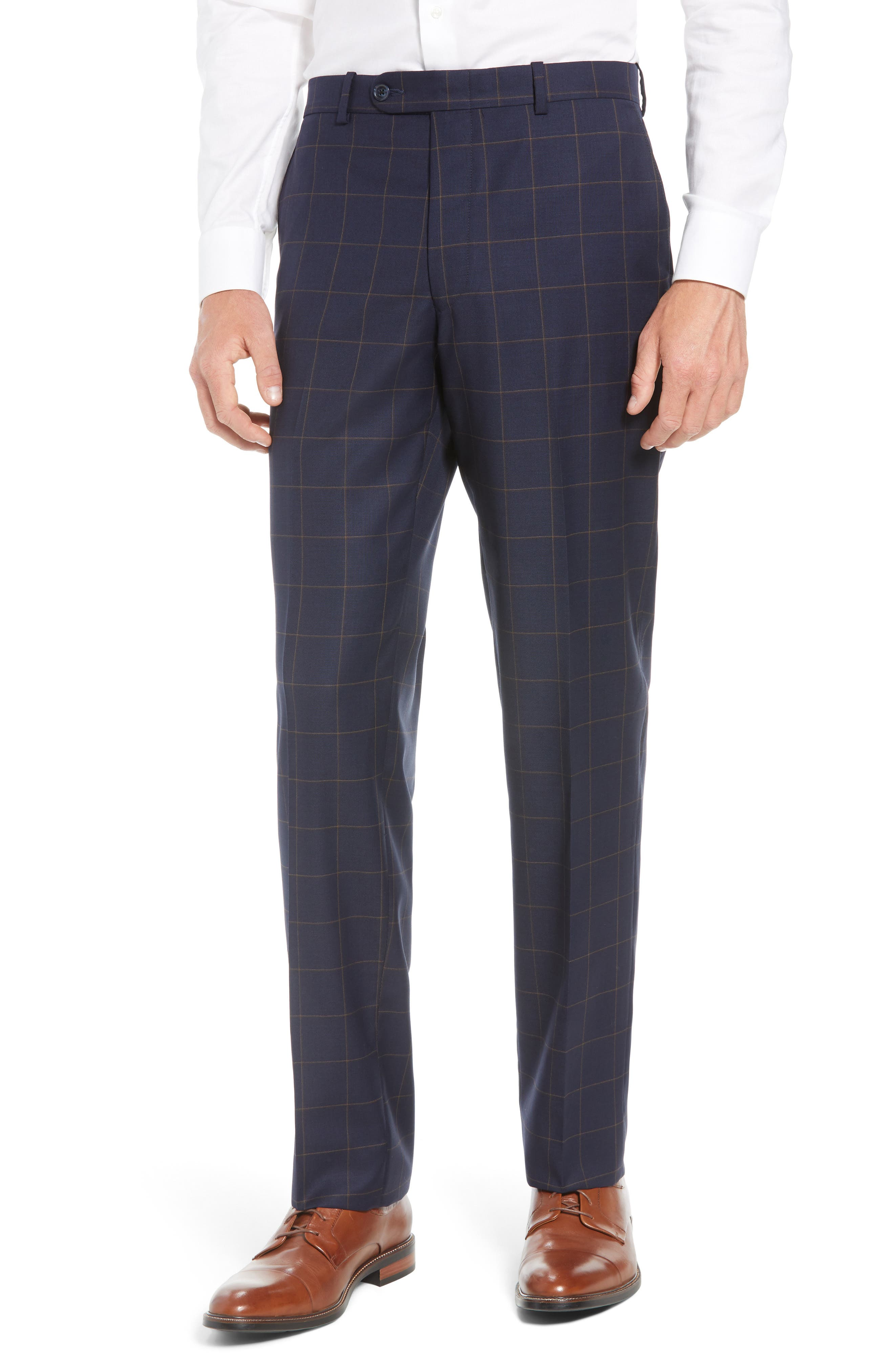 PETER MILLAR,                             Flynn Classic Fit Windowpane Wool Suit,                             Alternate thumbnail 6, color,                             NAVY
