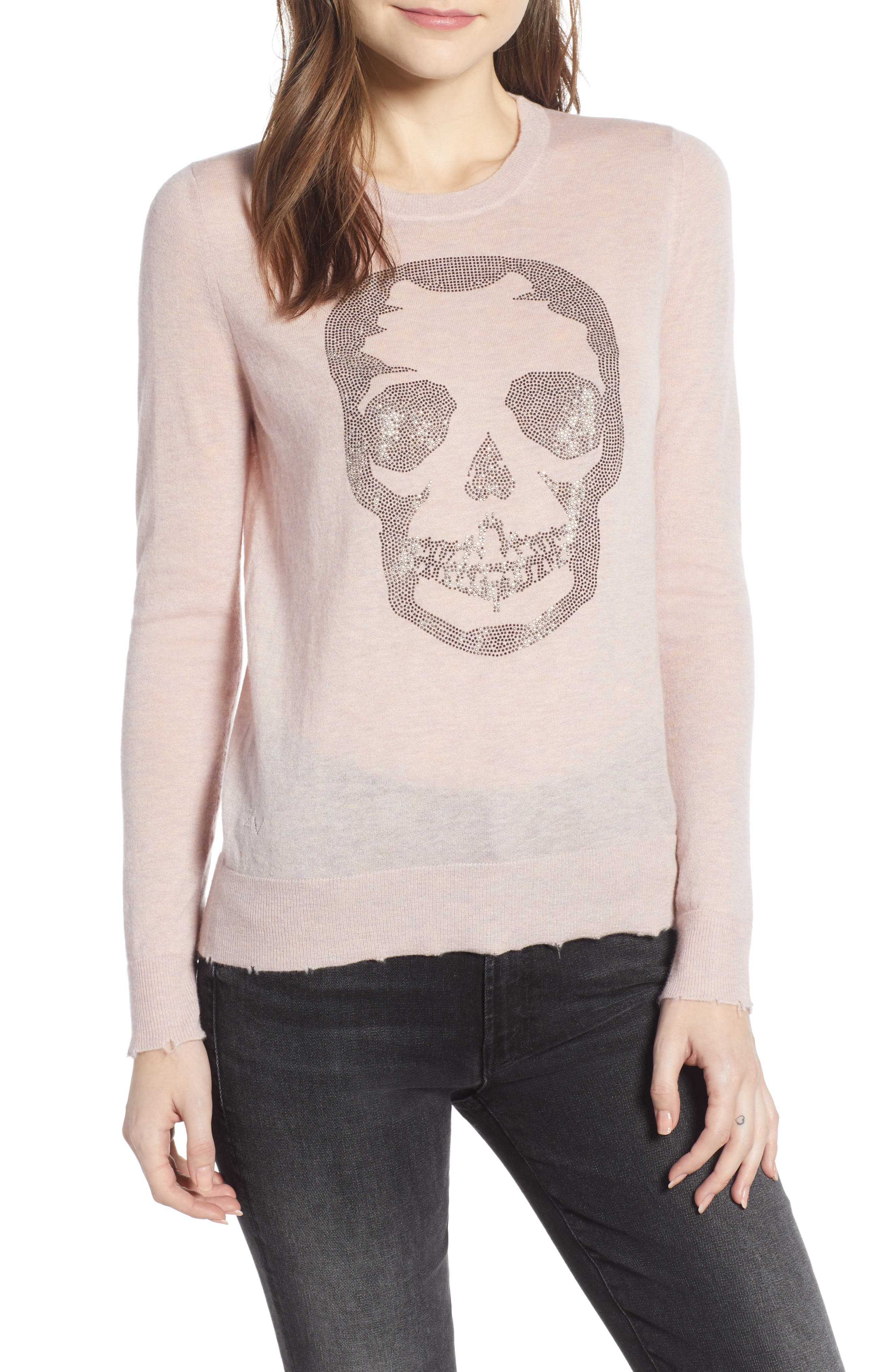 Miss CP Skull Cashmere Sweater,                             Main thumbnail 1, color,                             TUTU