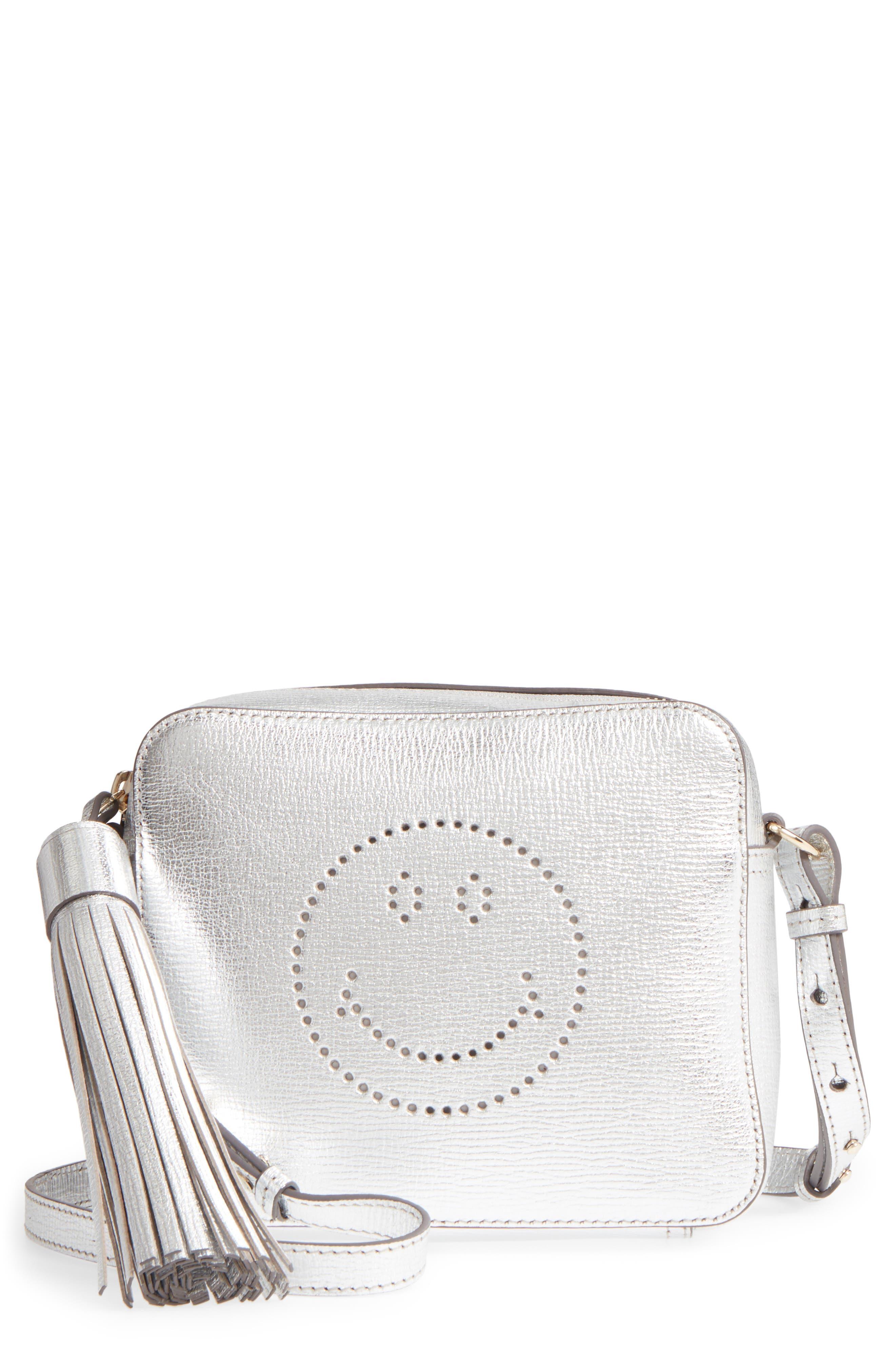 Smiley Metallic Leather Crossbody Bag,                             Main thumbnail 1, color,                             SILVER