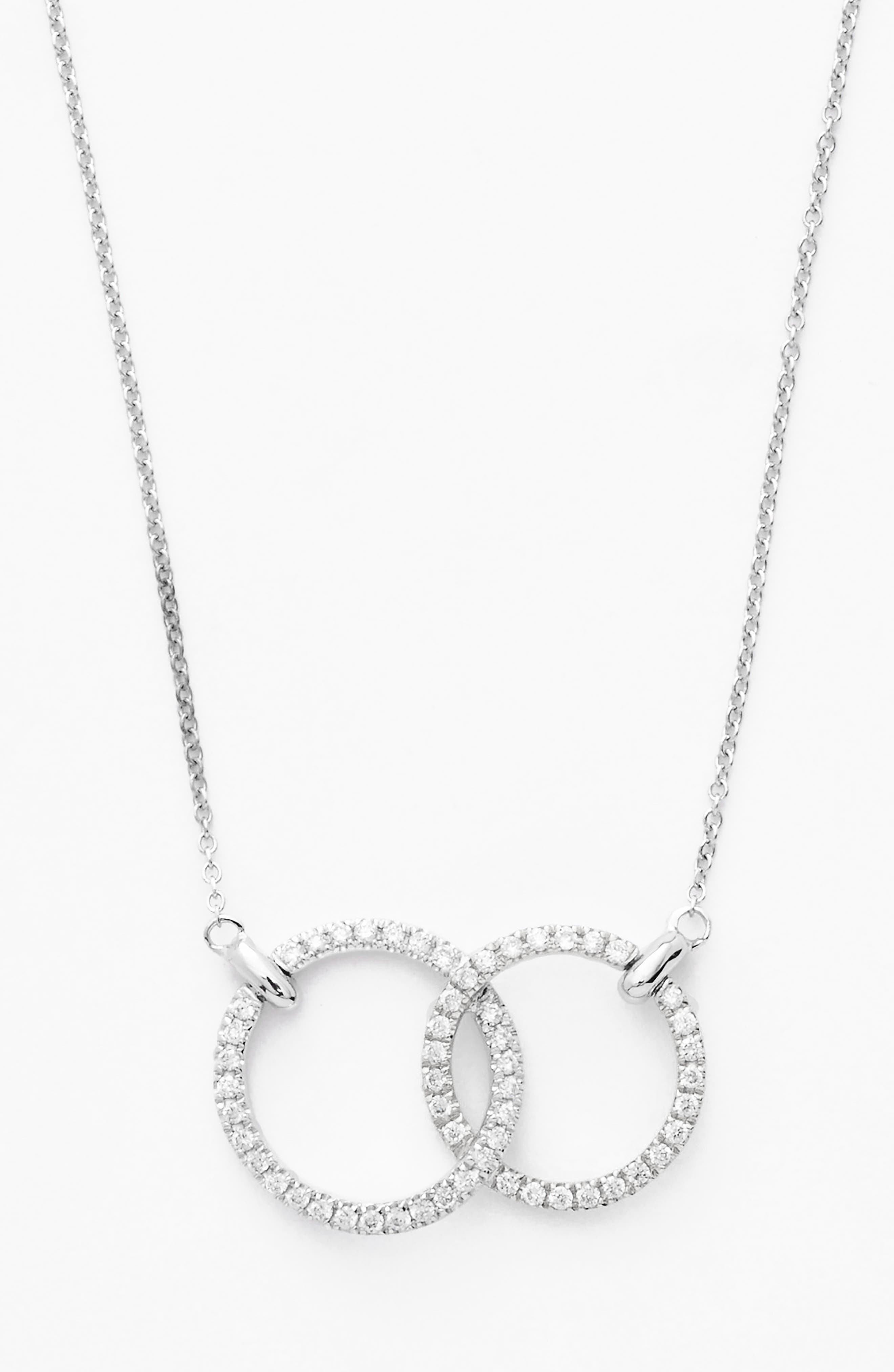 Double Diamond Circle Pendant Necklace,                             Alternate thumbnail 2, color,                             WHITE GOLD