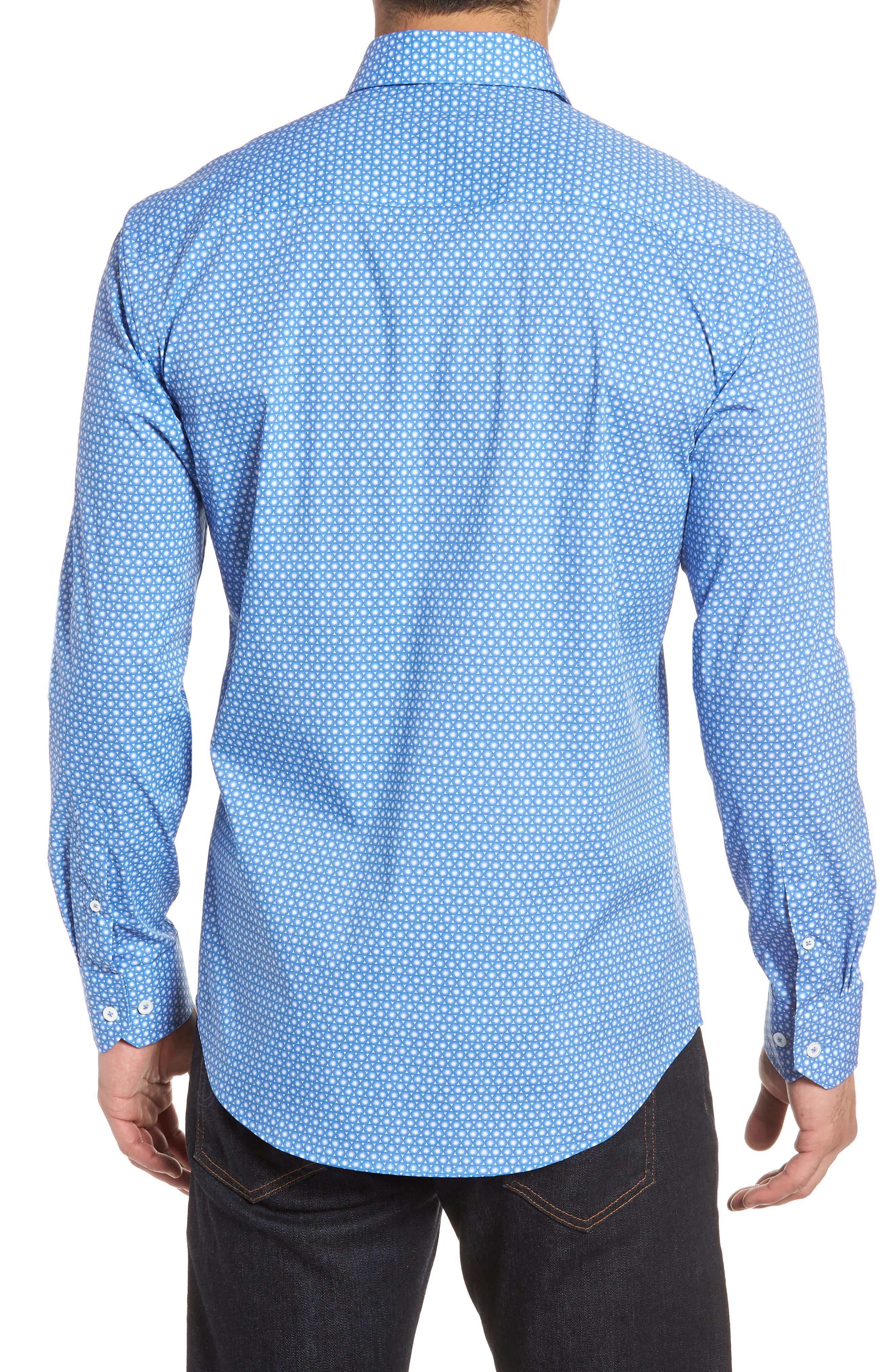 Shaped Fit Circle Print Sport Shirt,                             Alternate thumbnail 2, color,                             CLASSIC BLUE