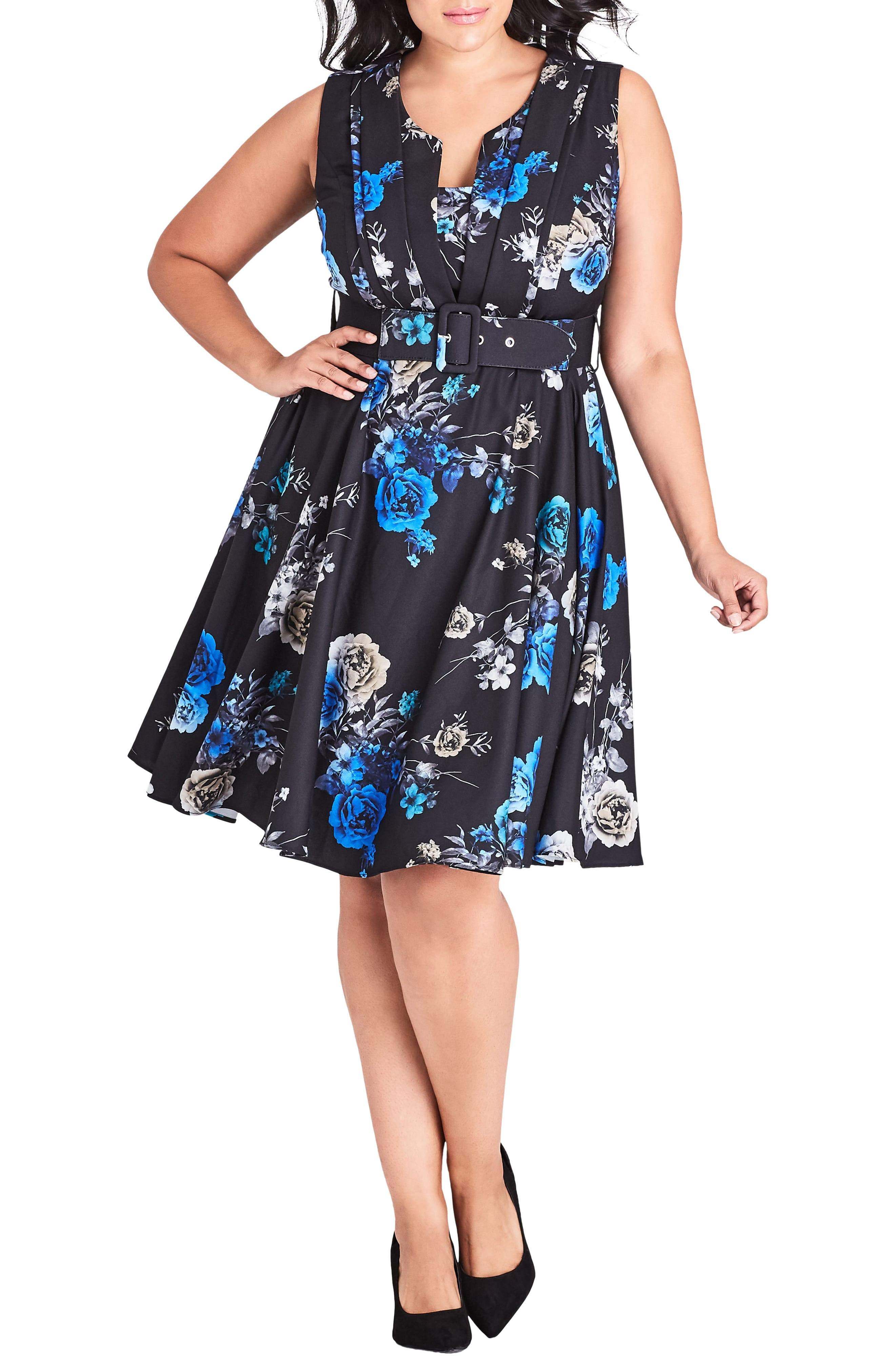 Plus Size Chic Chic Bouquet Sleeveless Fit & Flare Dress