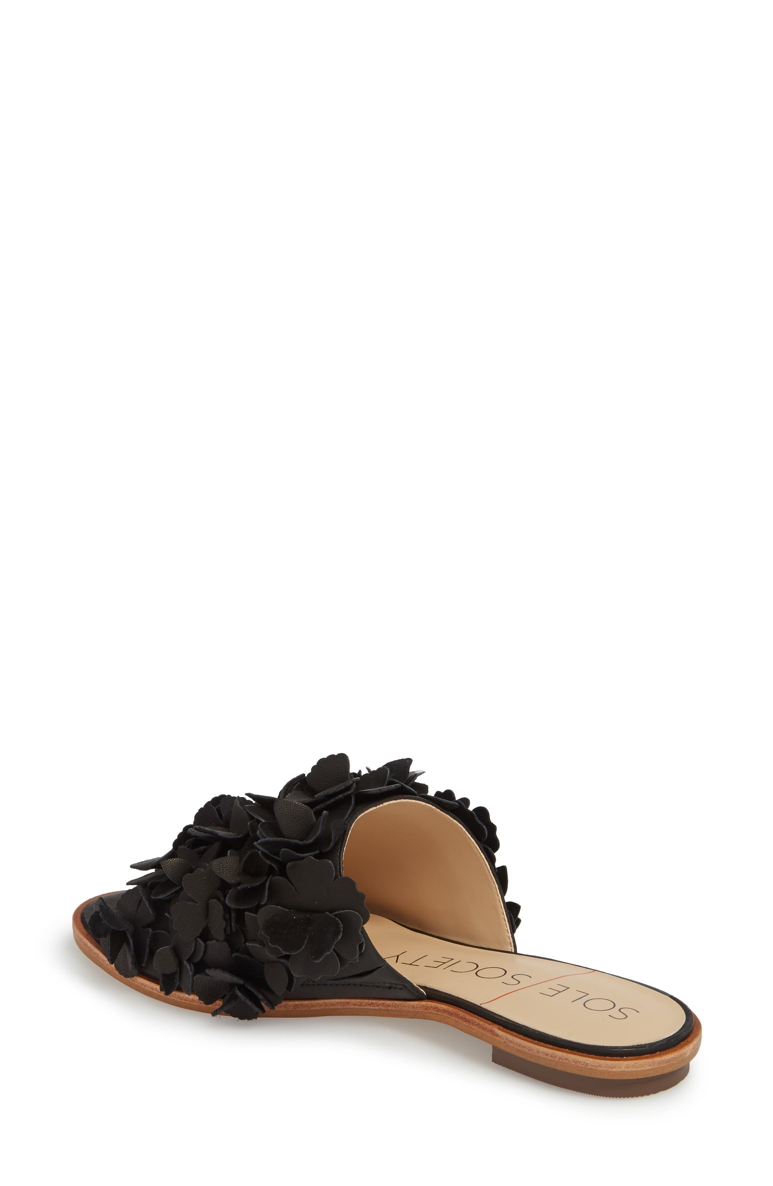 Caelyn Embellished Flat Sandal,                             Alternate thumbnail 2, color,                             BLACK