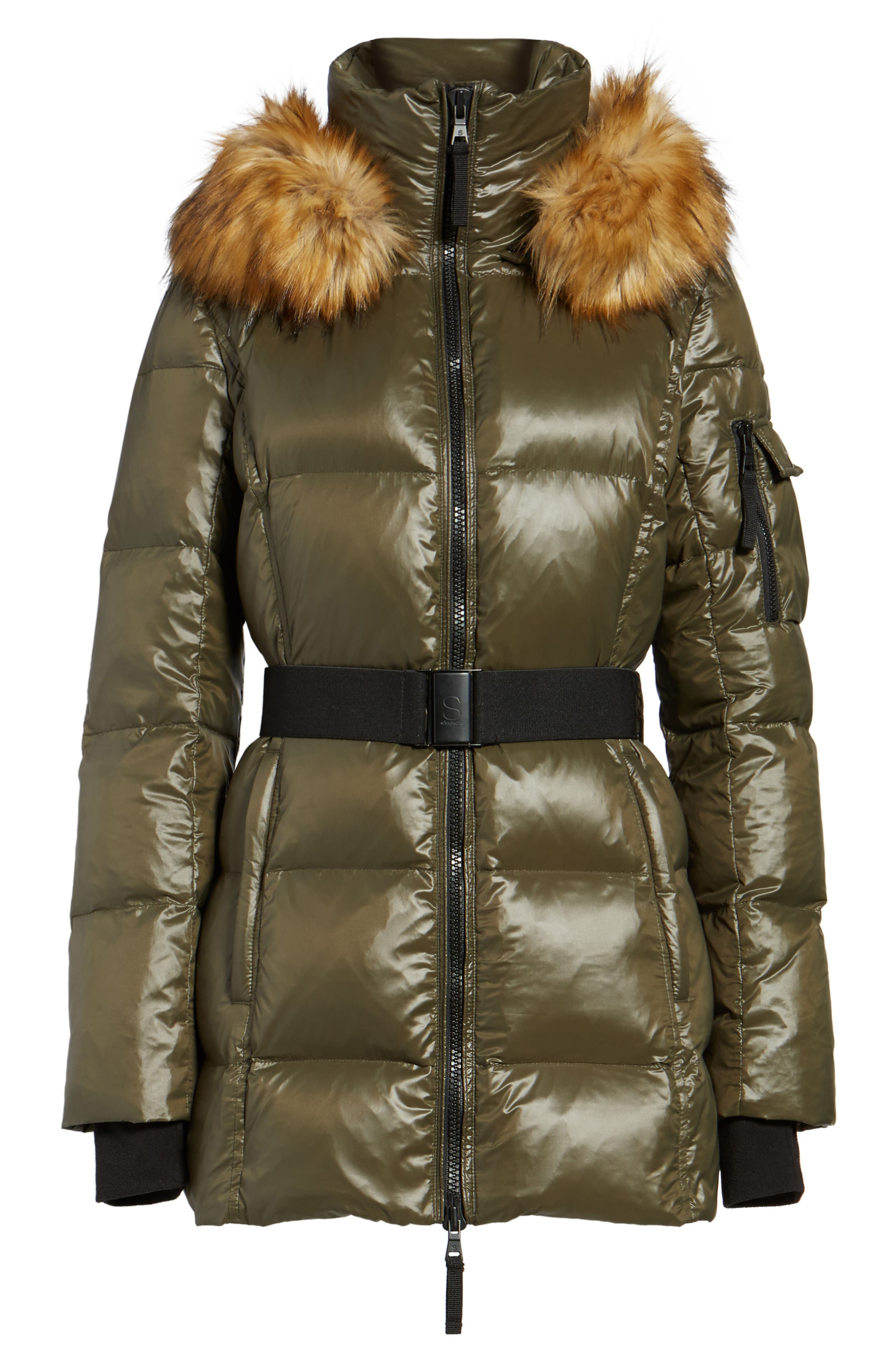 S13 'Nicky' Quilted Coat with Removable Faux Fur Trimmed Hood,                             Alternate thumbnail 5, color,                             304