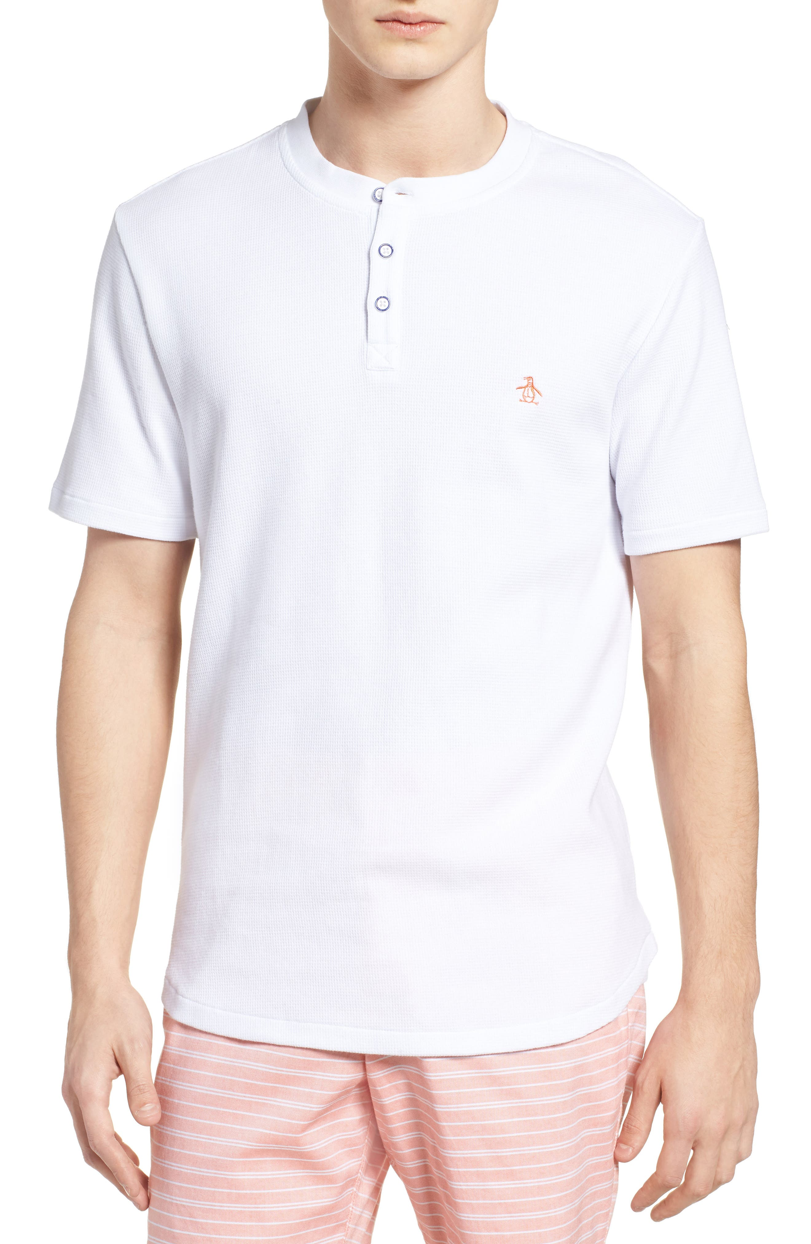 Waffle Knit Henley,                         Main,                         color, BRIGHT WHITE