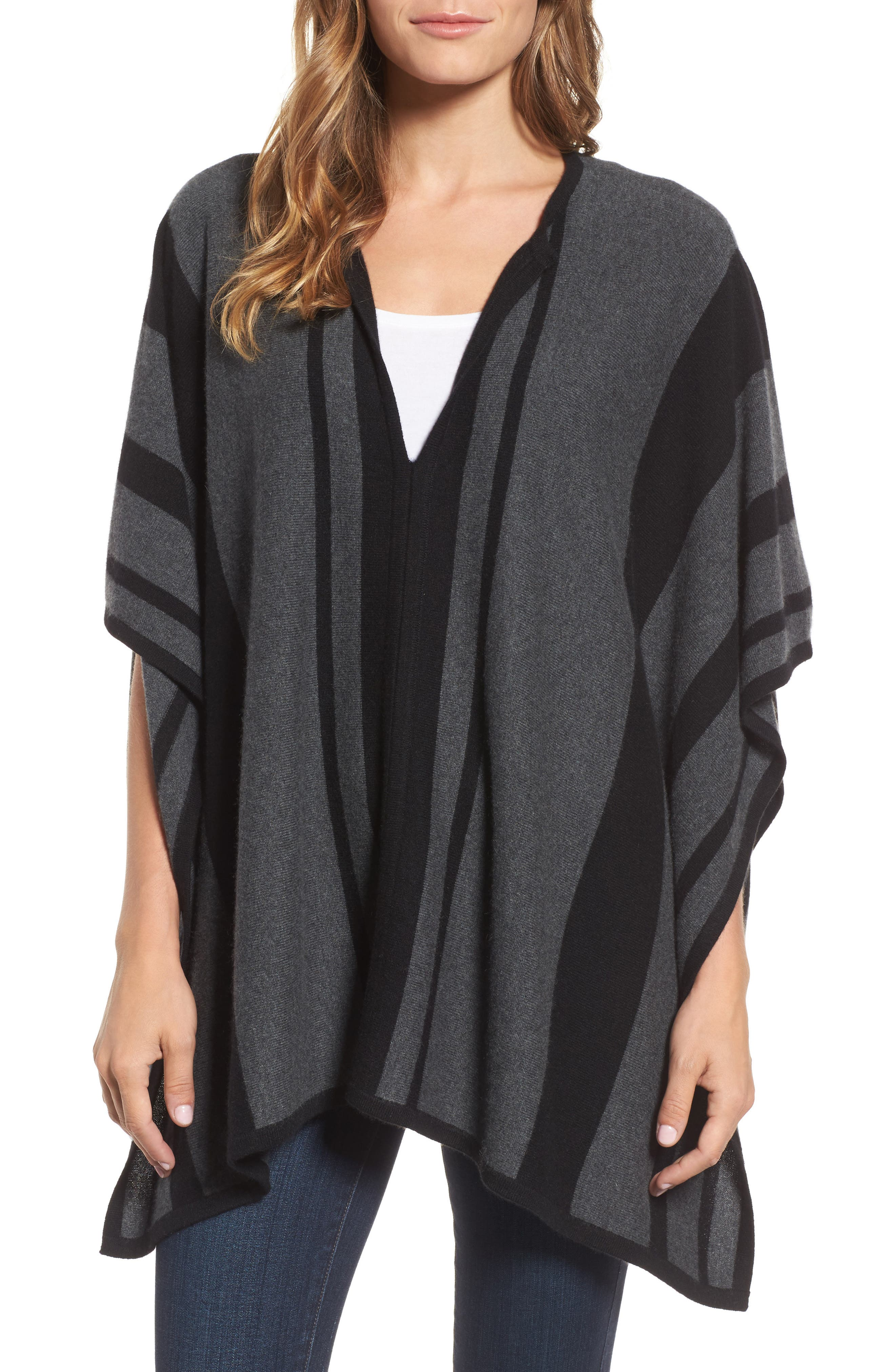Island Stripe Cashmere Poncho,                         Main,                         color, 050
