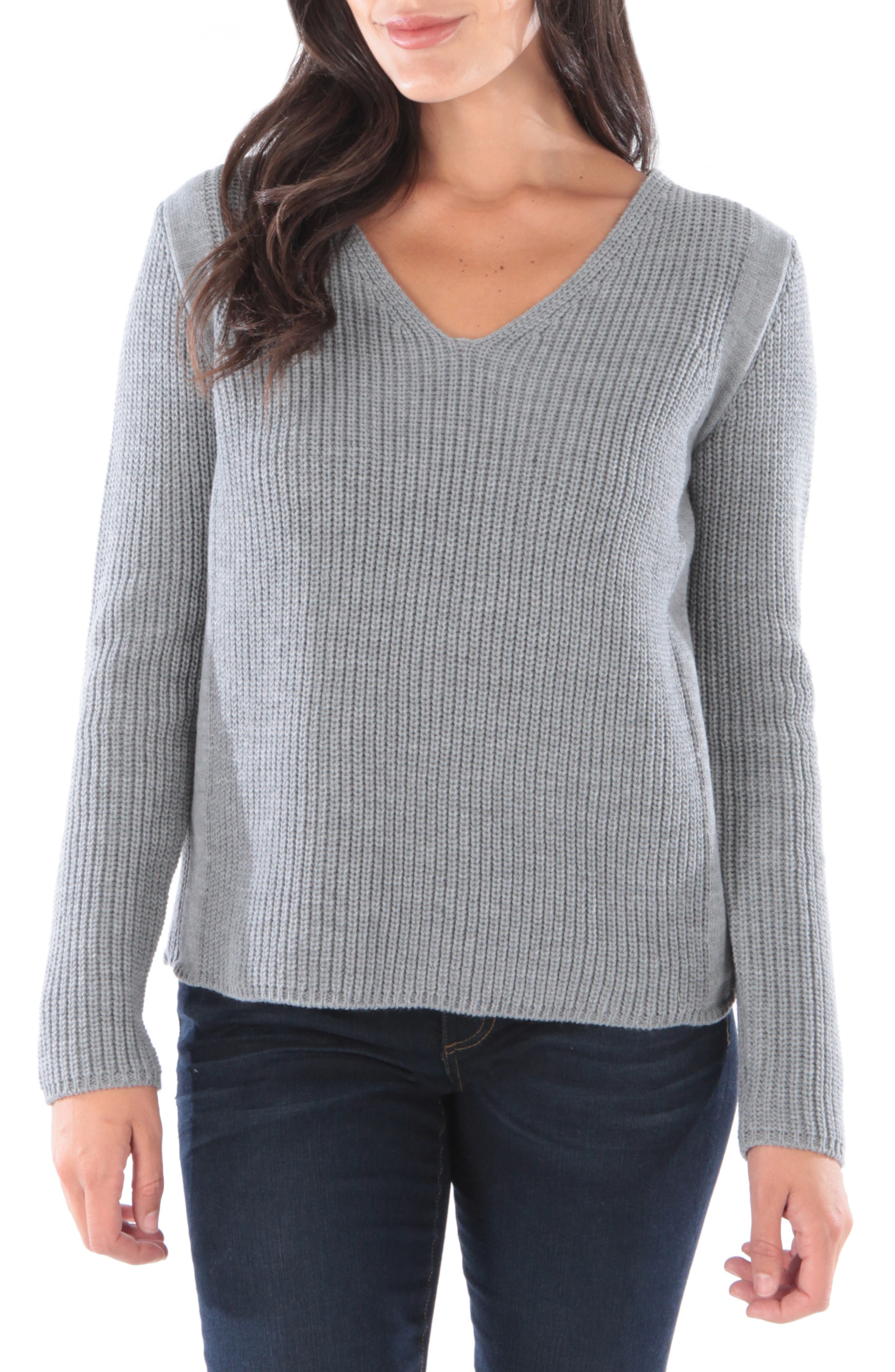 Kut From The Kloth Danielle V-Neck Sweater, Grey